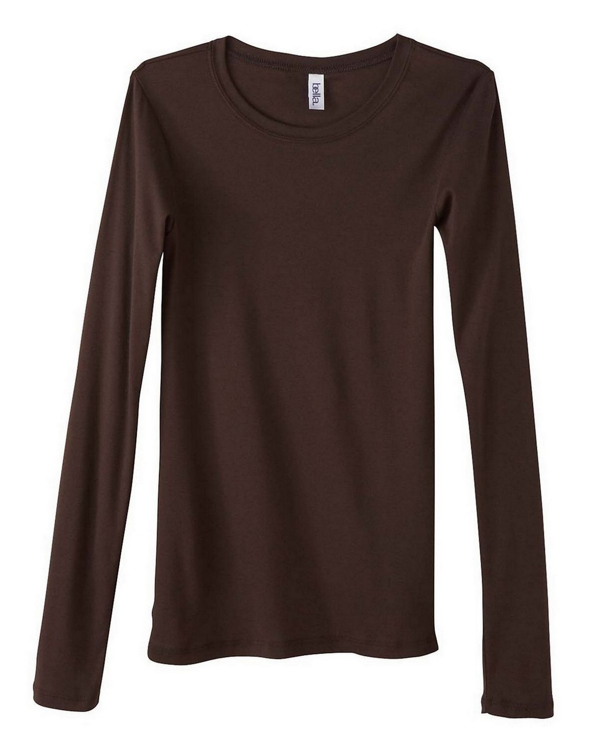 Bella + Canvas 8751 Ladies Sheer Mini Rib Long-Sleeve T-Shirt - Chocolate - S 8751