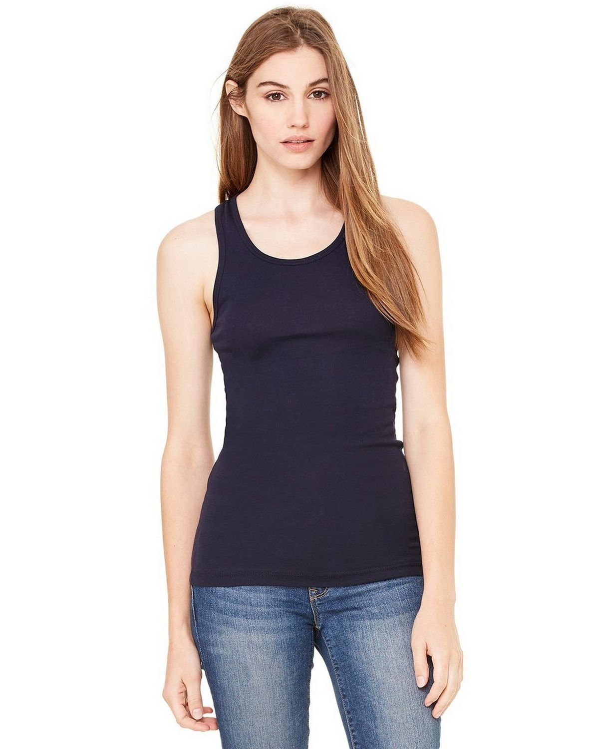 Bella + Canvas 8770 Ladies Meredith Sheer Rib Racerback Tank - Midnight - XL 8770