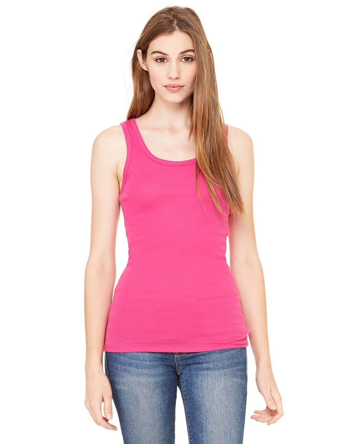 Bella + Canvas 8780 Sheer Rib Longer Tank - Berry - S 8780