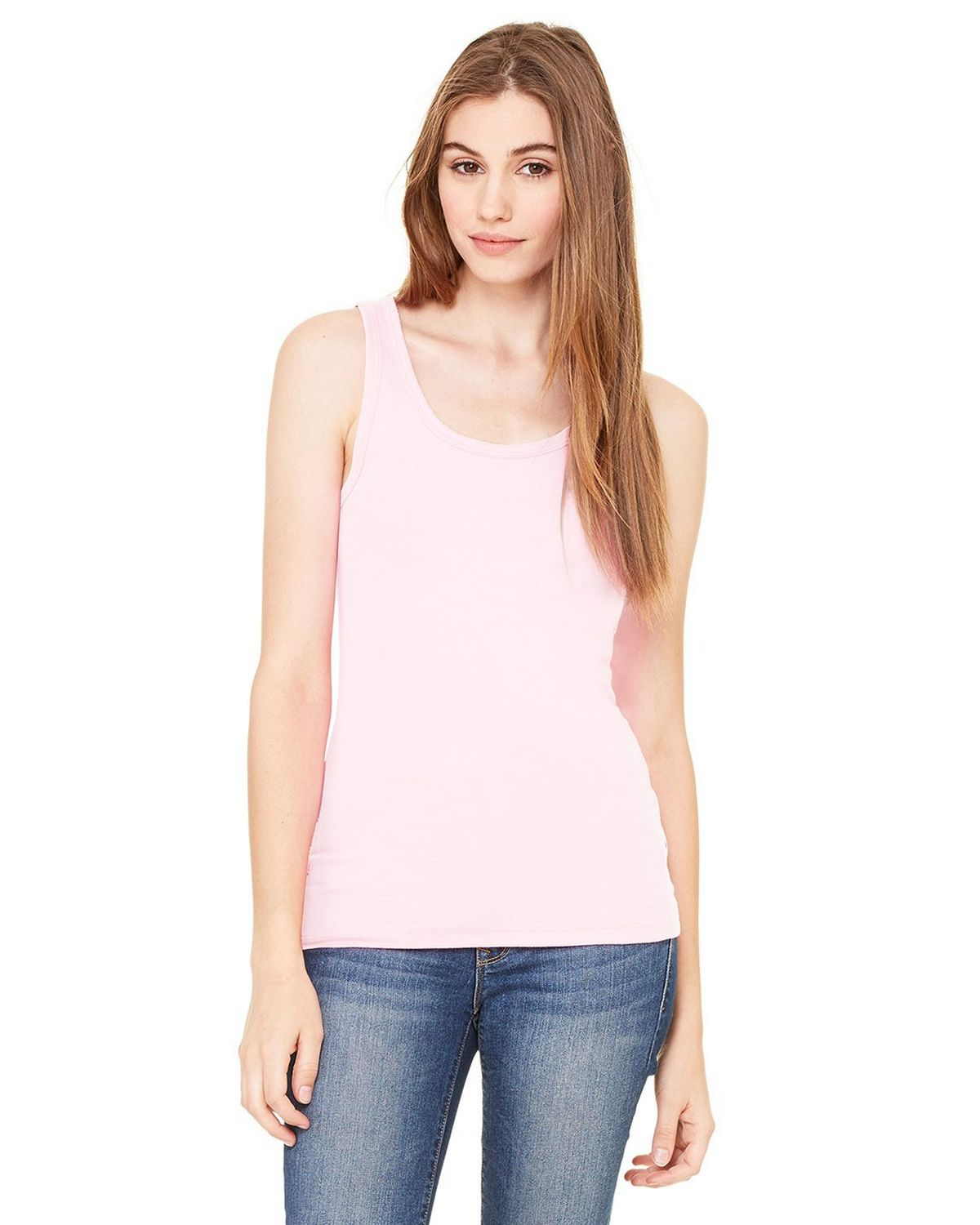 Bella + Canvas 8780 Sheer Rib Longer Tank - Pink - S 8780