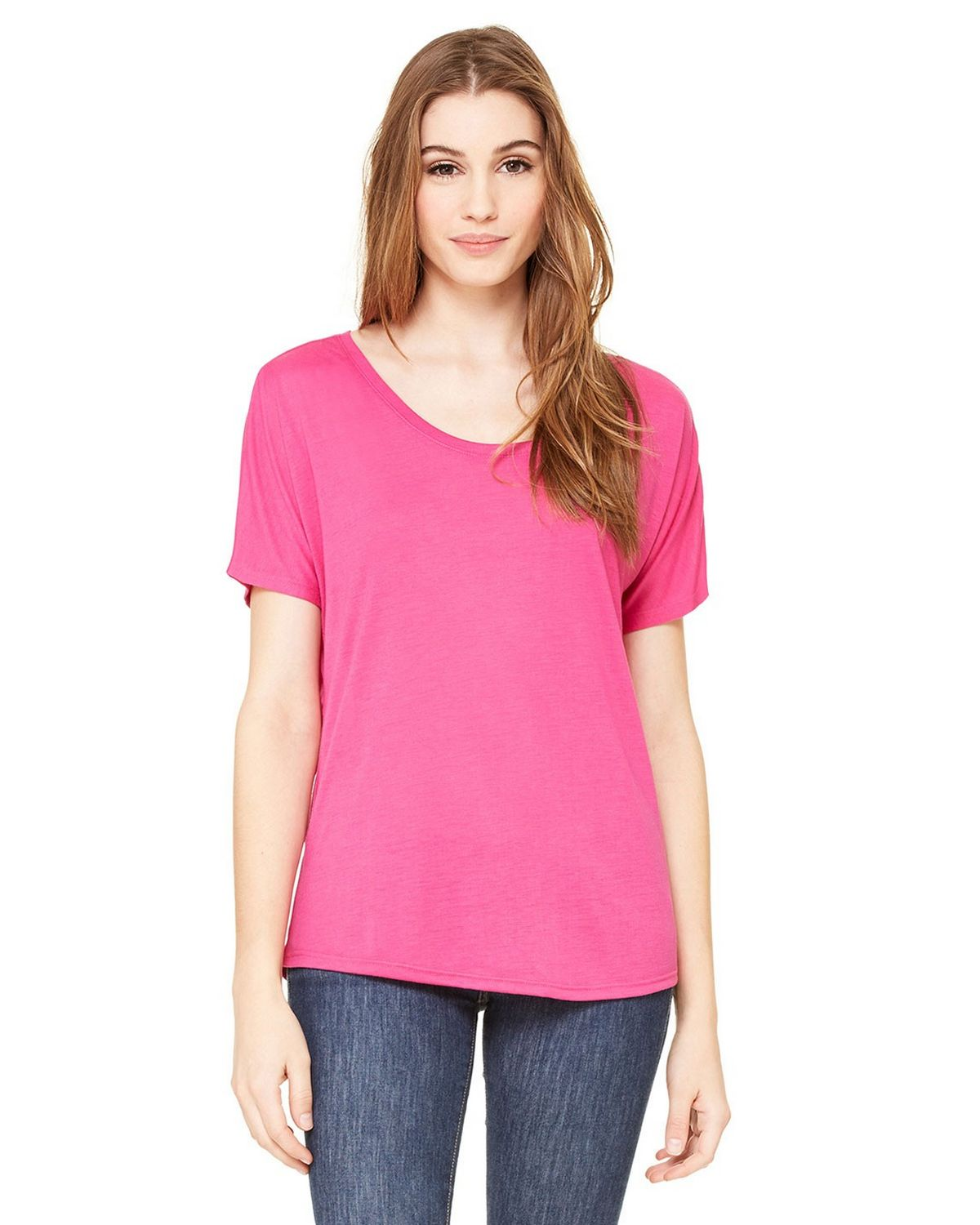 Bella + Canvas 8816 Ladies Flowy Simple T-Shirt - Berry - L 8816