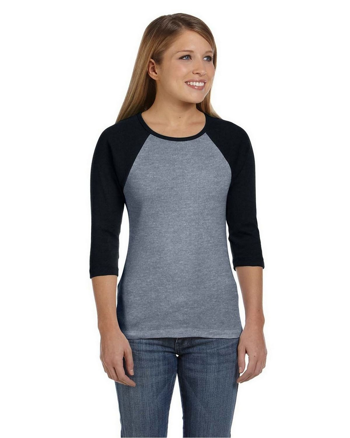 Bella + Canvas B2000 Ladies Baby Rib Contrast Raglan T-Shirt - Deep Heather/Blk - XL B2000