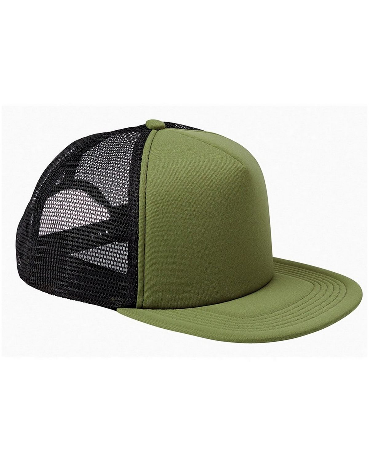 Big Accessories BX030 5 Panel Foam Front Trucker Cap - Olive/Black - One Size BX030