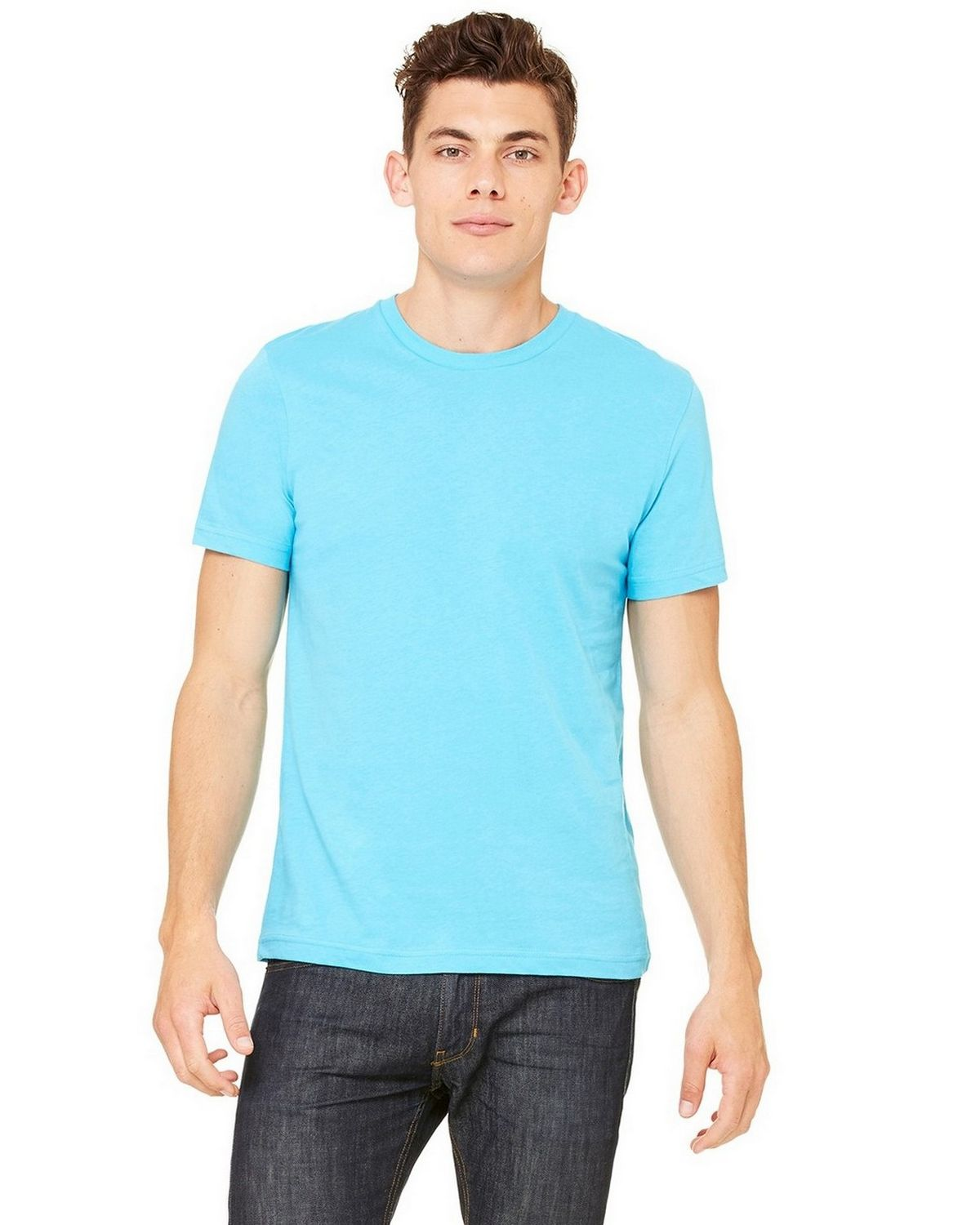 Bella + Canvas 3001C Unisex Jersey Short-Sleeve T-Shirt - Heather Aqua - M 3001C