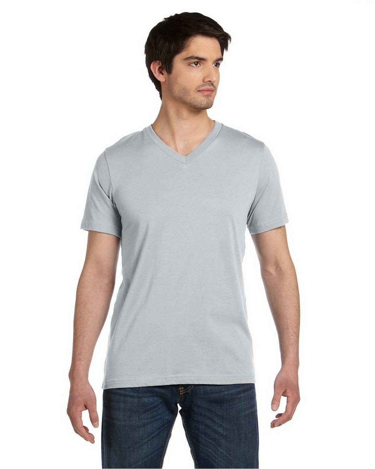 Bella + Canvas 3005 Unisex Jersey V-Neck T-Shirt - Silver - XL 3005