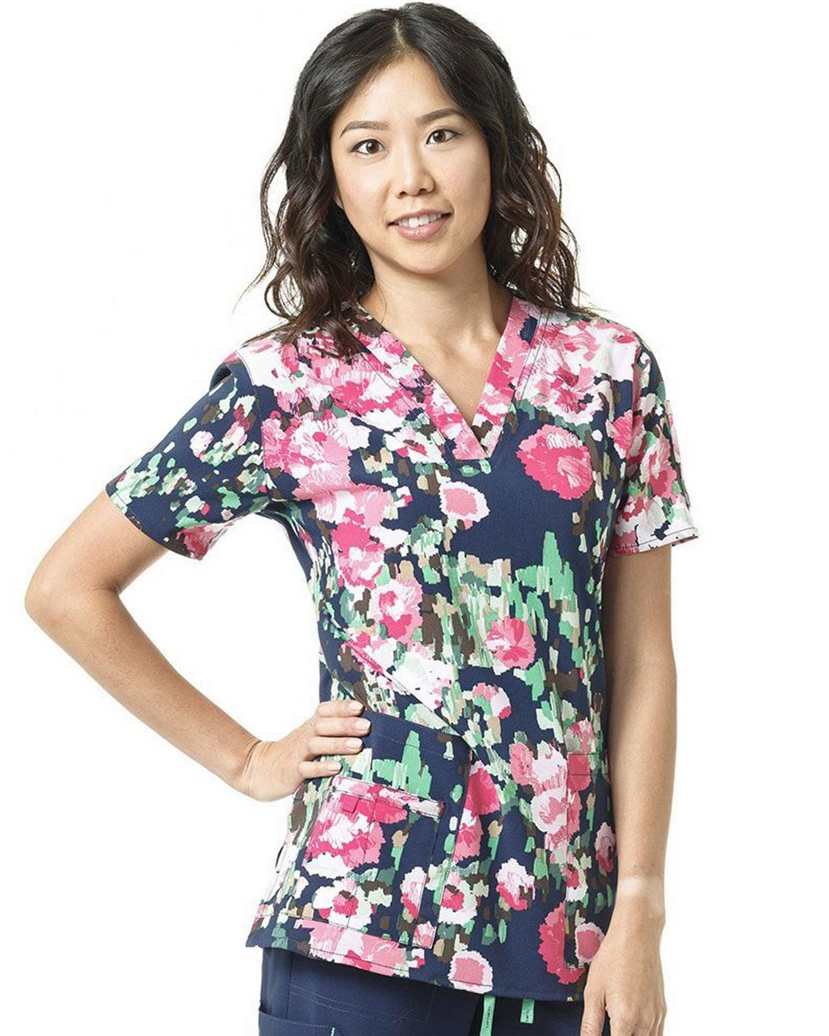 Carhartt C12114 Womens Print V-Neck Top - Free Feather Hibiscus - LG C12114