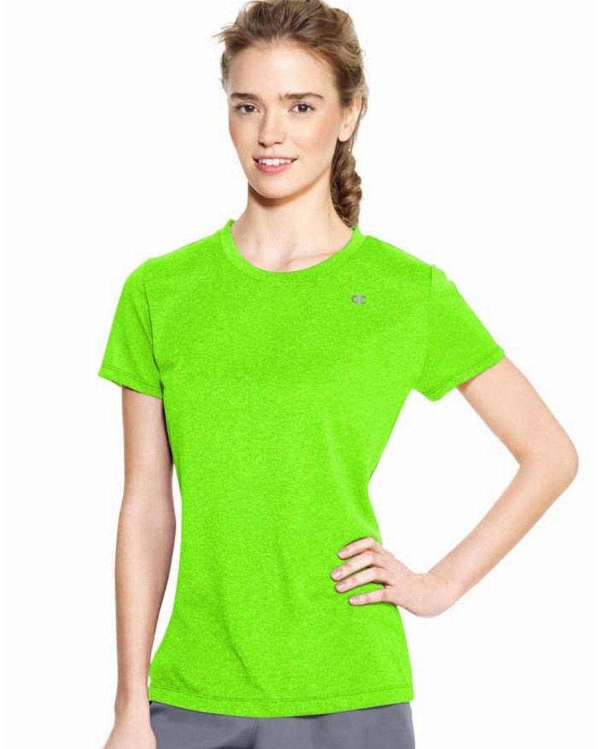 Champion 7963 Vapor PowerTrain Short Sleeve Heather Tee - Forging Green Heather - L 7963