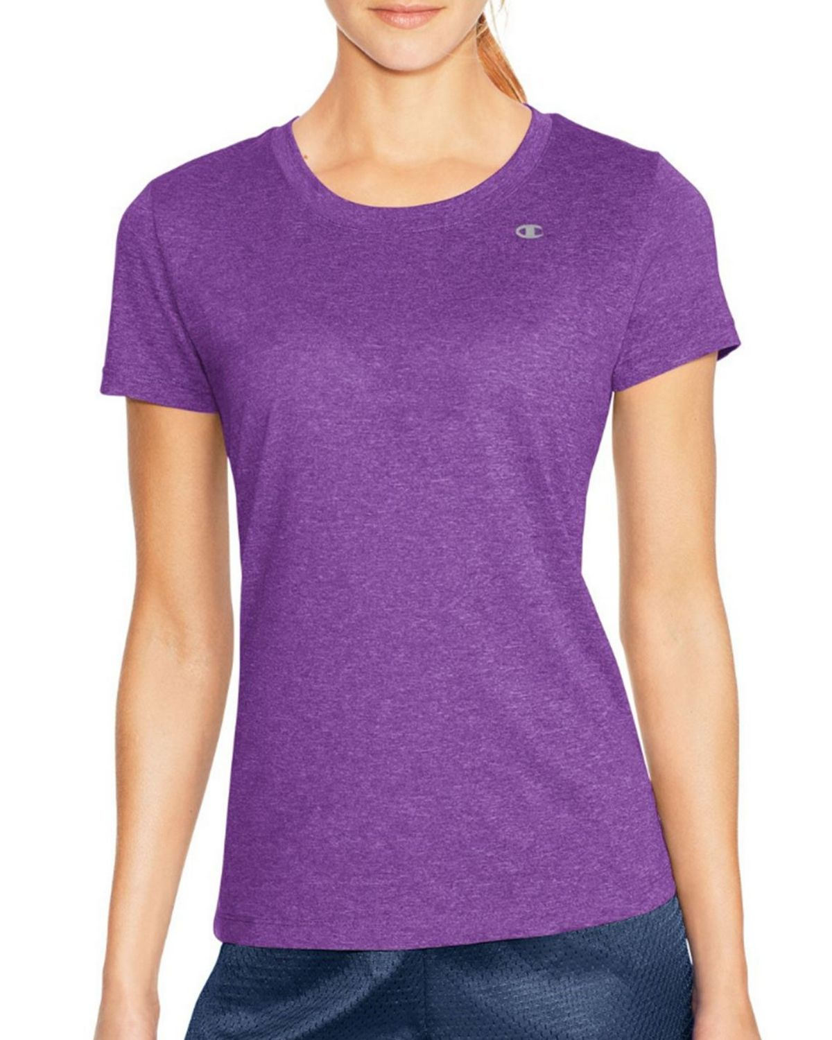 Champion 7963 Vapor PowerTrain Short Sleeve Heather Tee - Purple Reef Heather - L 7963