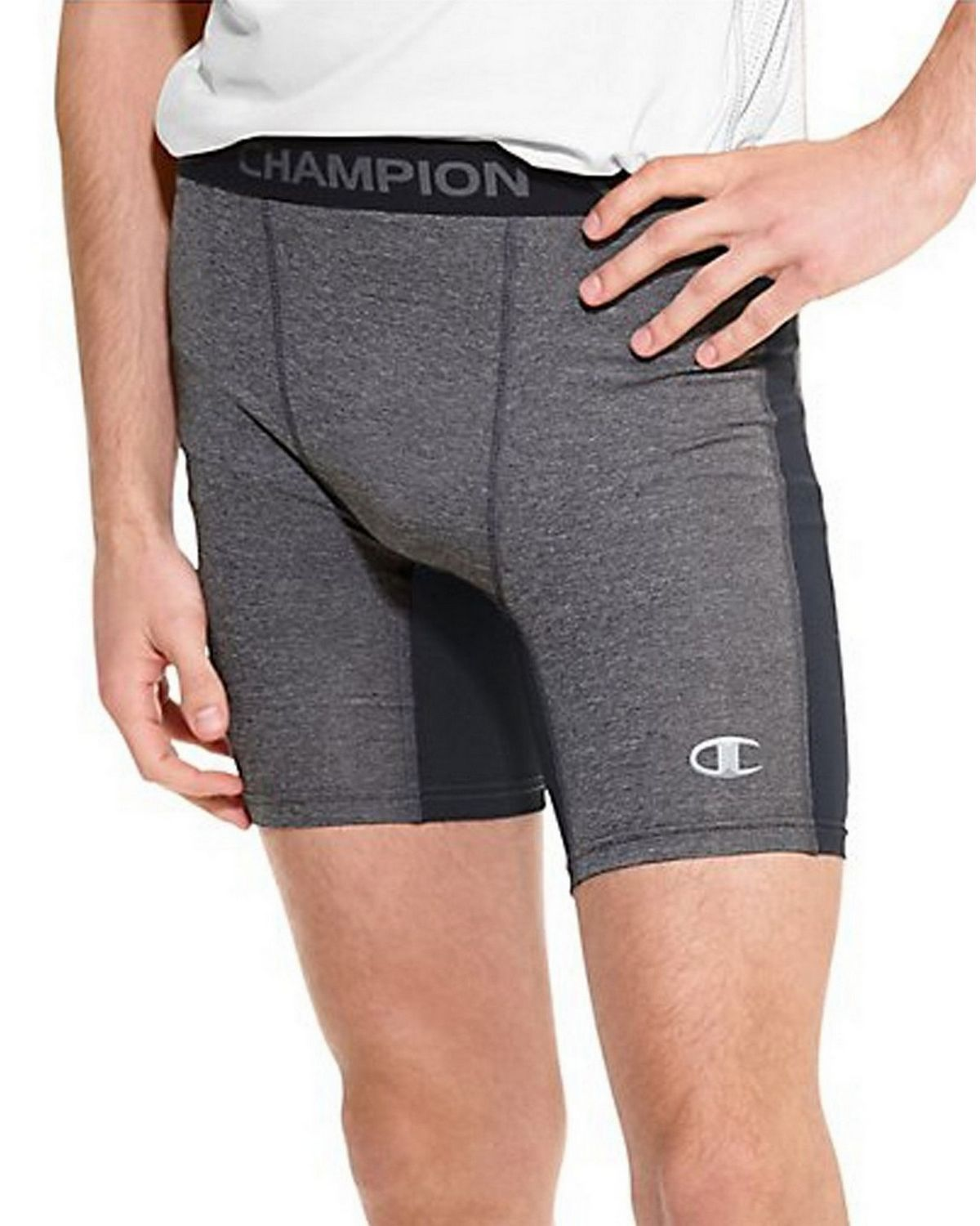 Champion 87294 PowerTrain PowerFlex Solid Compression Shorts - Slate Grey Heather/Black - S 87294