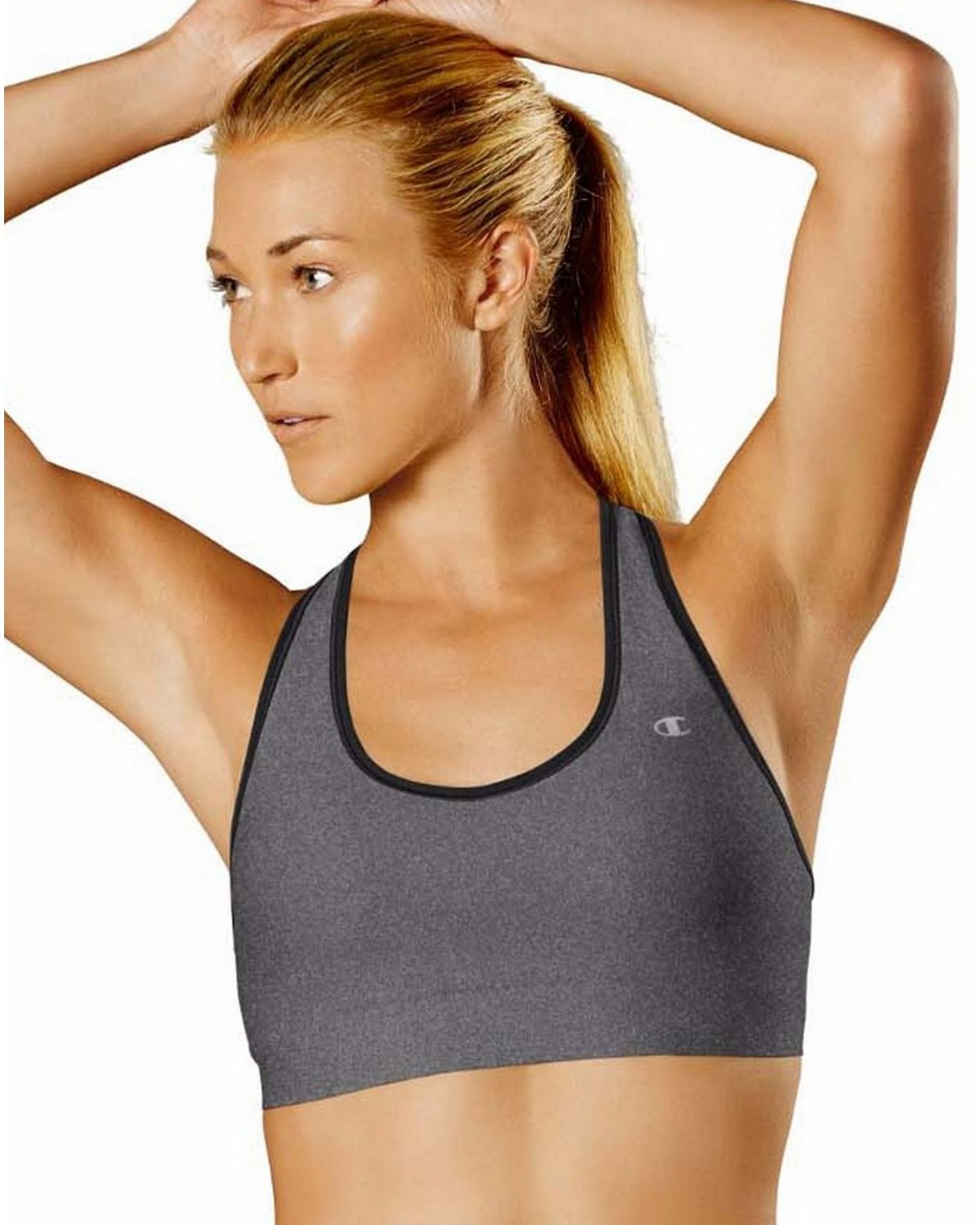 Champion B9504 Absolute Racerback Sports Bra - Granite Heather/Black - XS B9504
