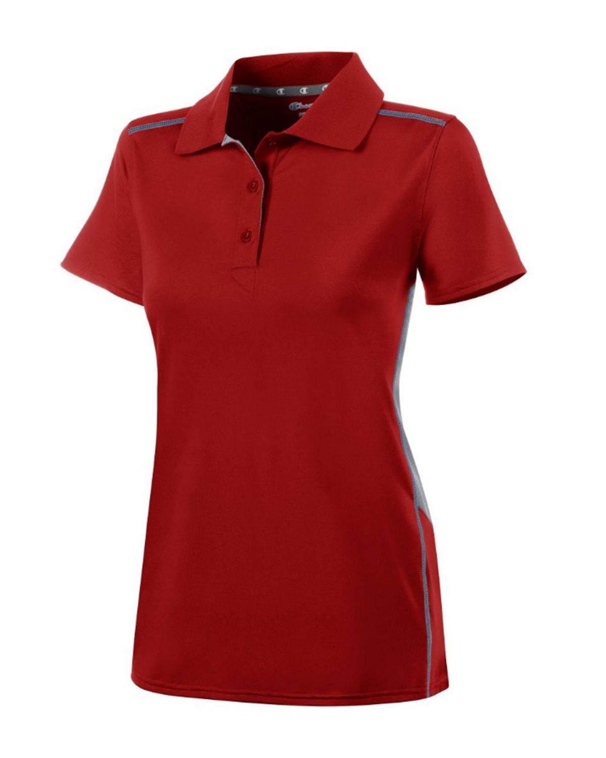 Champion H909 Womens Polo Shirt - Scarlet/Stone Gray - S H909
