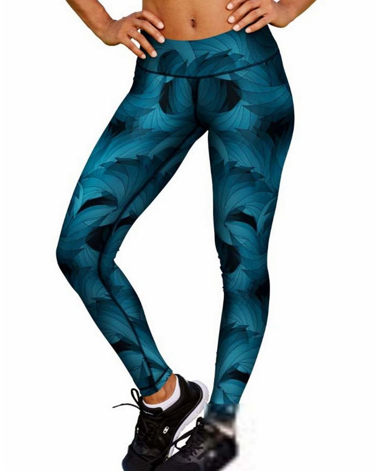 Champion M0130P Womens Absolute Printed Tights - Faded Indigo Blue Ombre Blade Spin - L M0130P