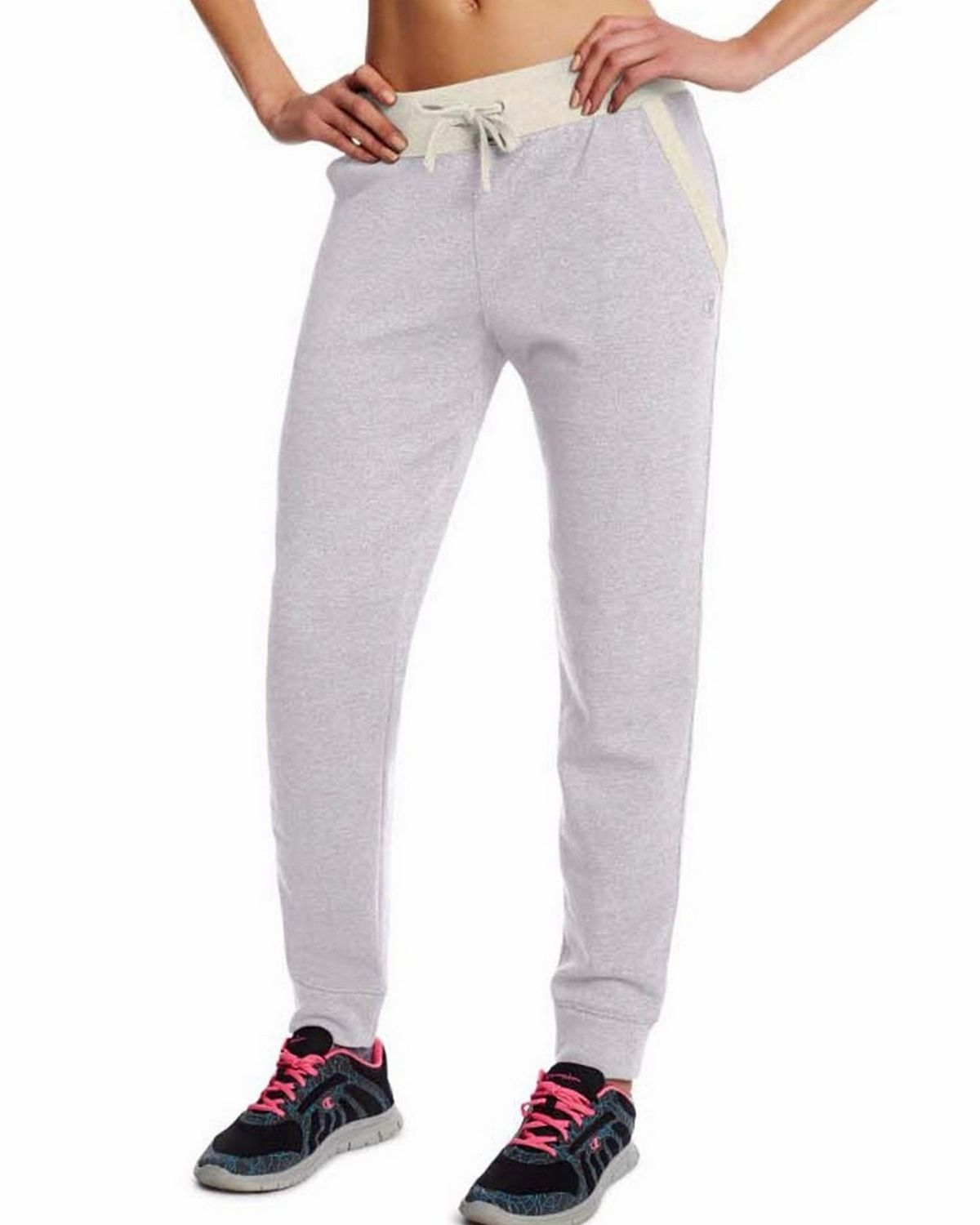Champion M0937 Womens Fleece Jogger Pants - Oxford Heather/Oatmeal Heather - L M0937