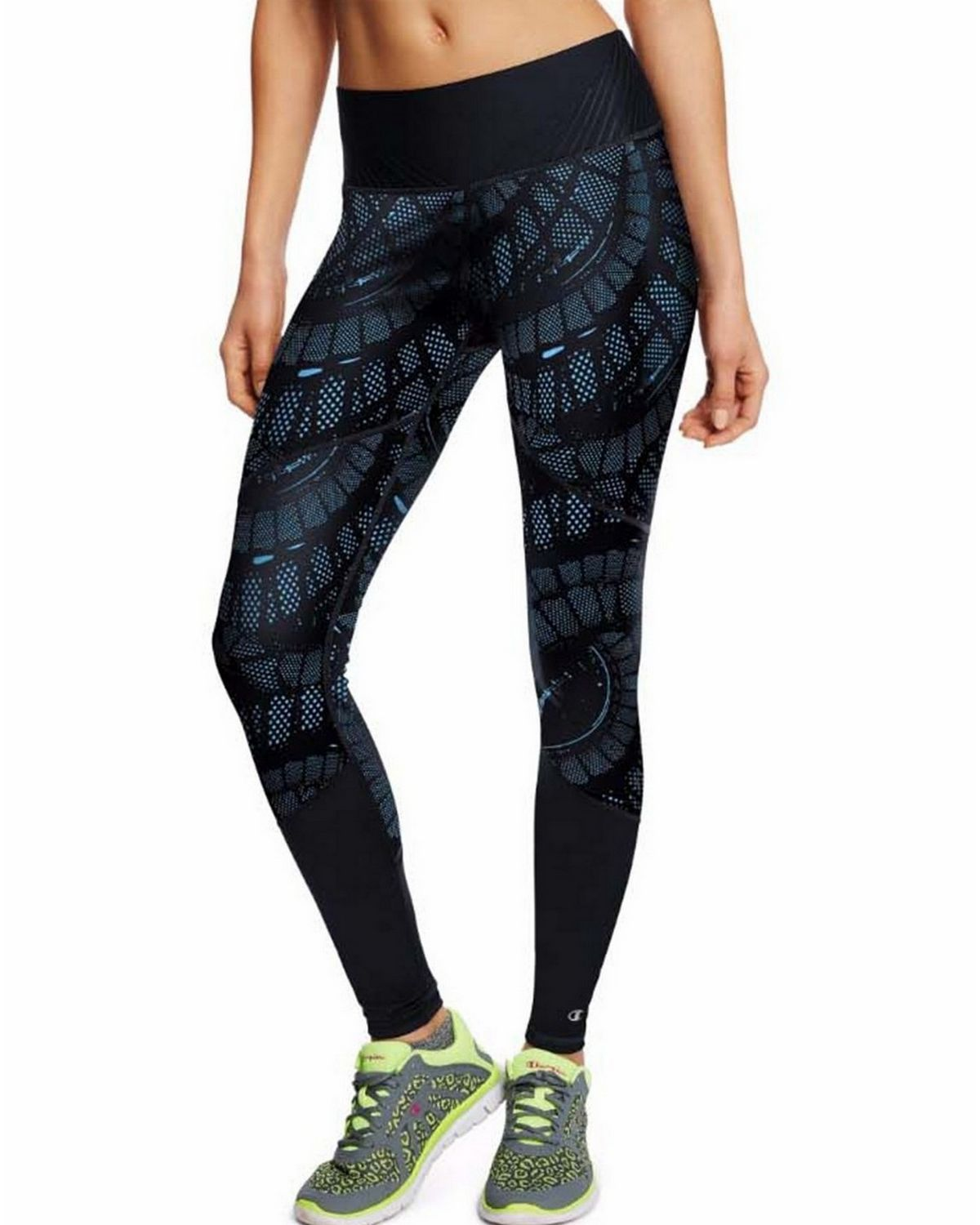 Champion M0940p Womens Printed Run Tights - Underwater Blue Spiral Staircase/Black - XL M0940P