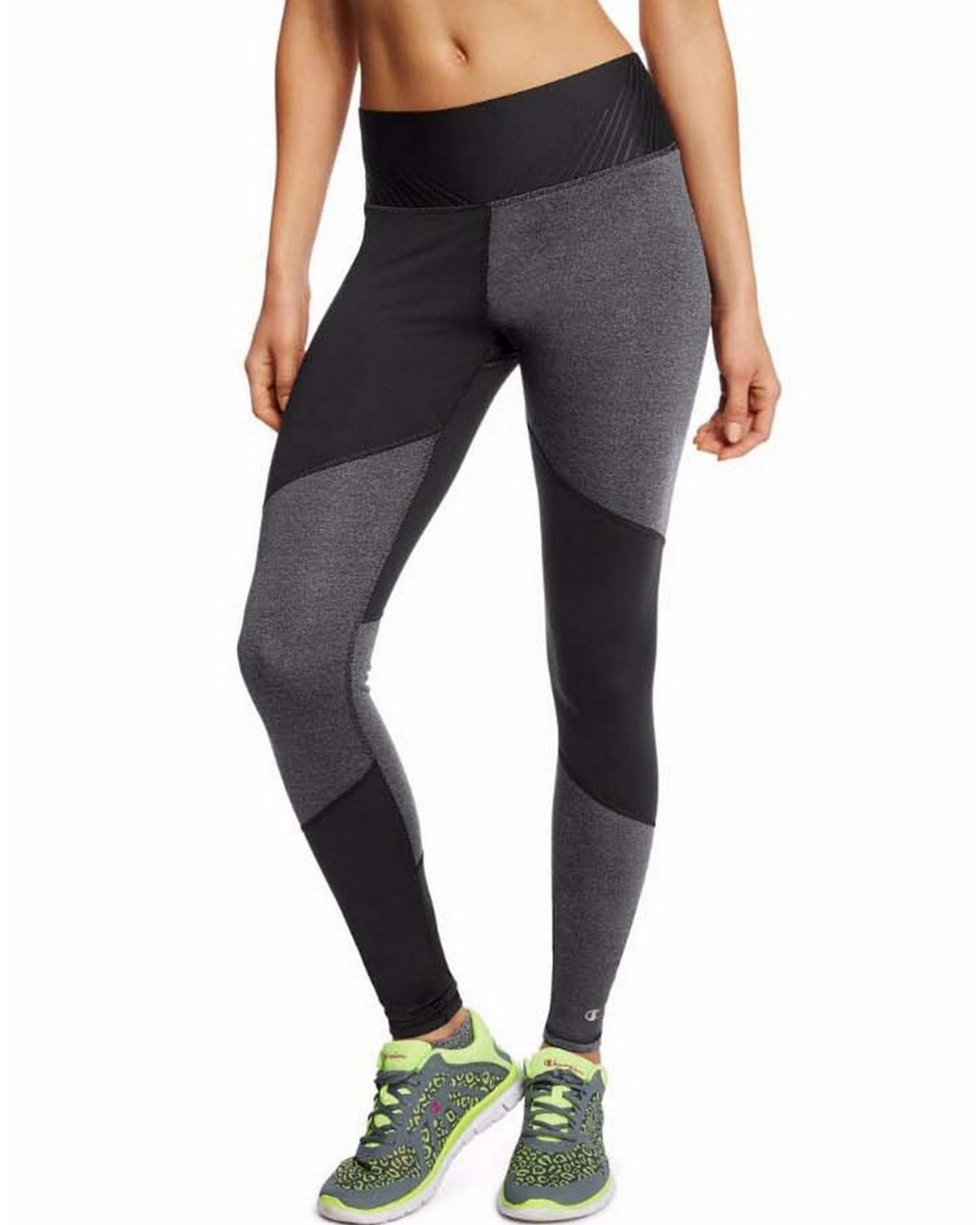 Champion M0940 Womens Run Tights - Black/Granite Heather - XL M0940