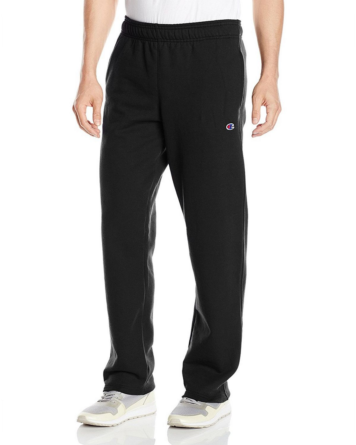 Champion P0893 Mens Fleece Open Bottom Pants - Black - M P0893