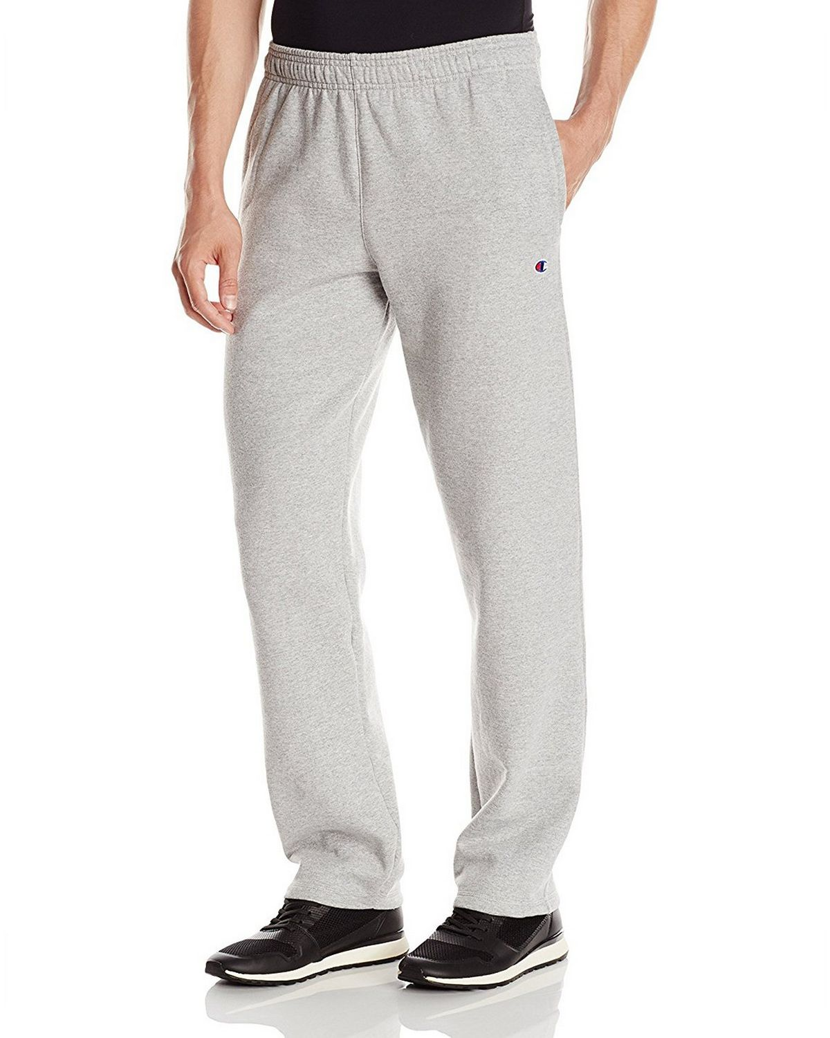 Champion P0893 Mens Fleece Open Bottom Pants - Black - L P0893