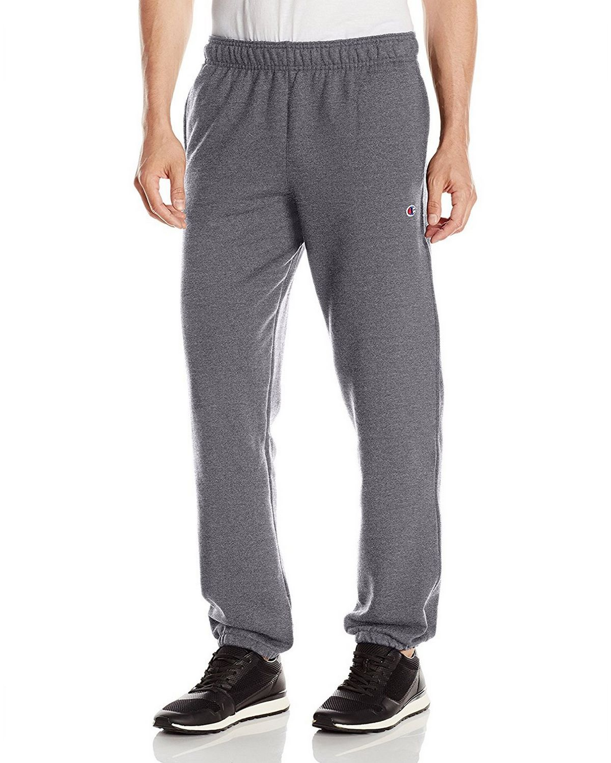 Champion P0894 Mens Powerblend Fleece Pants - Granite Heather - S P0894