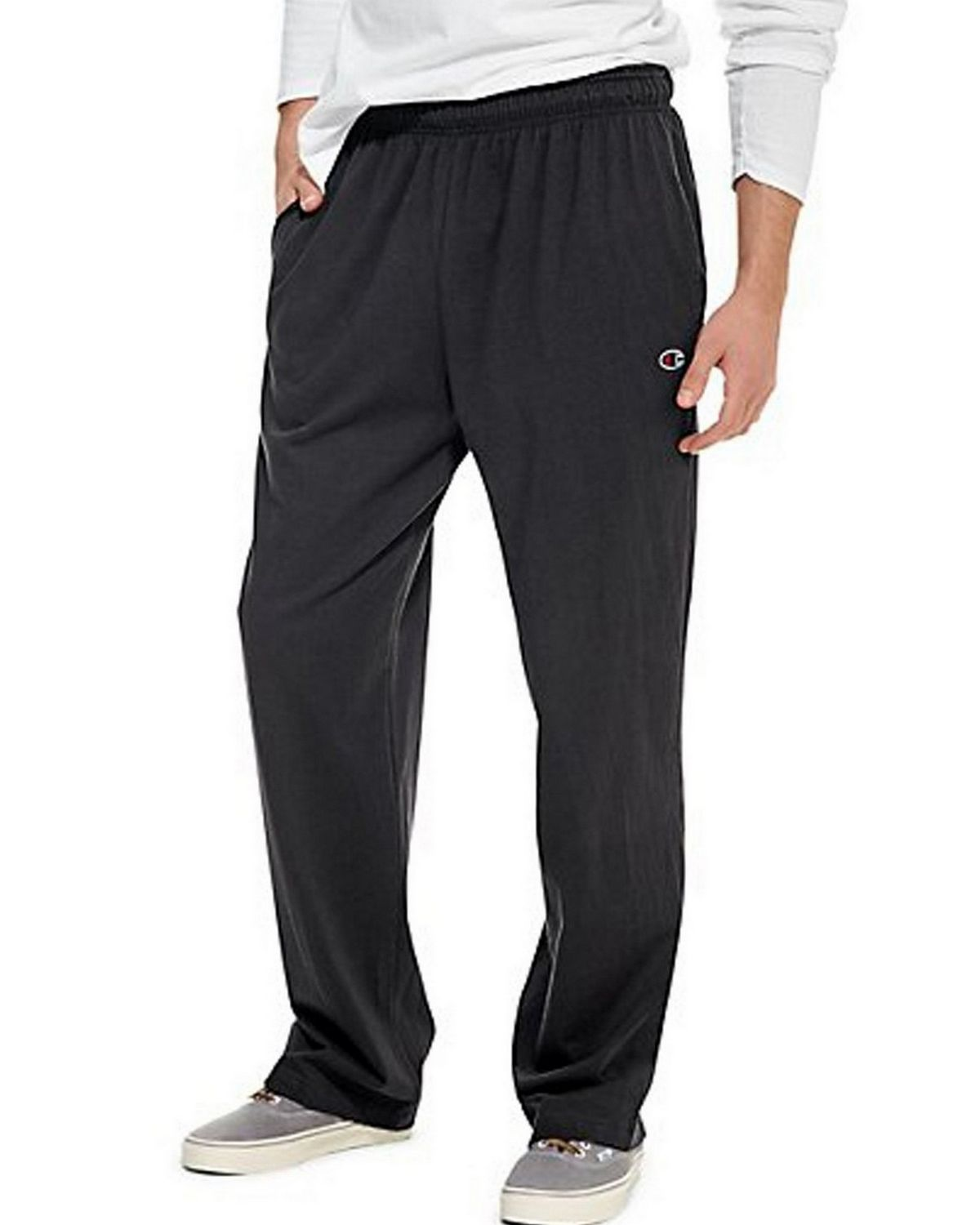 Champion P7309 Authentic Mens Open Bottom Jersey Pants - Black - S P7309