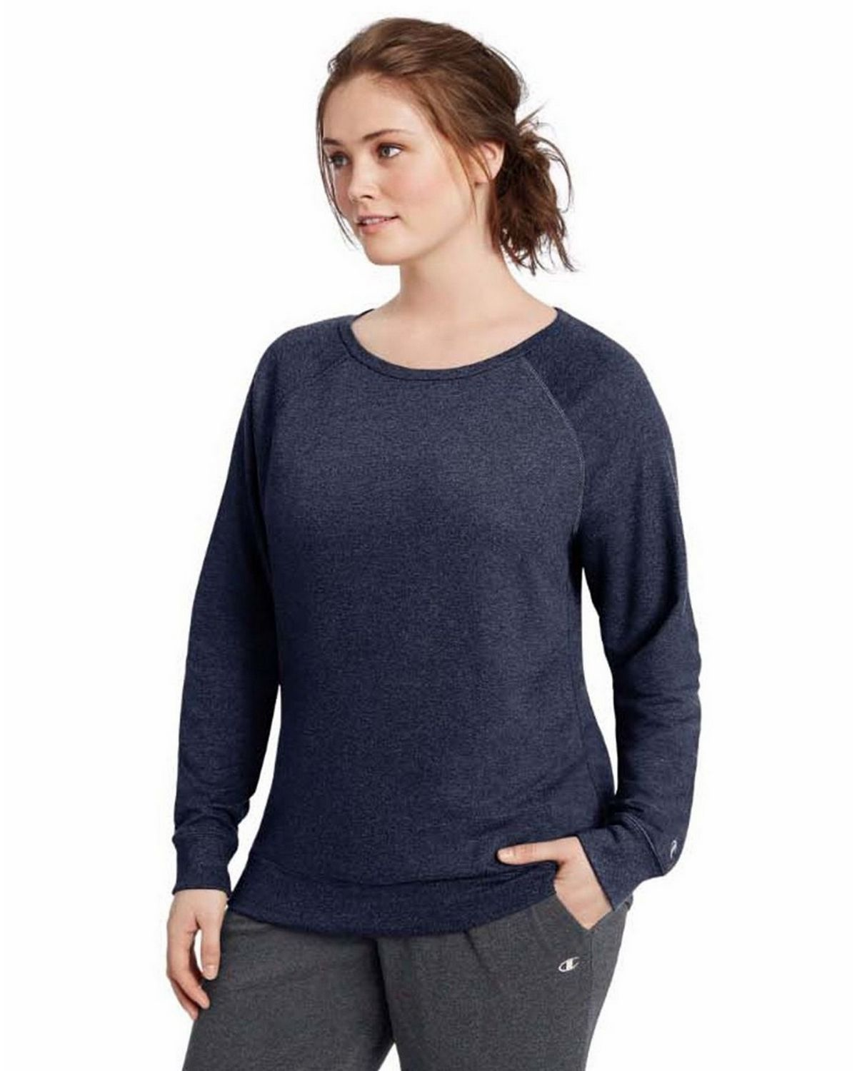Champion QW1239 Plus French Terry Top - Granite Heather - 1X QW1239