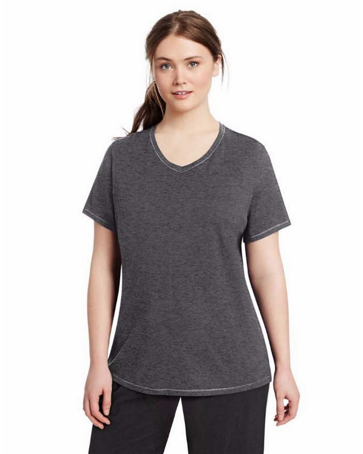 Champion QW1244 Womens Plus Jersey V-Neck - Granite Heather - 2X QW1244