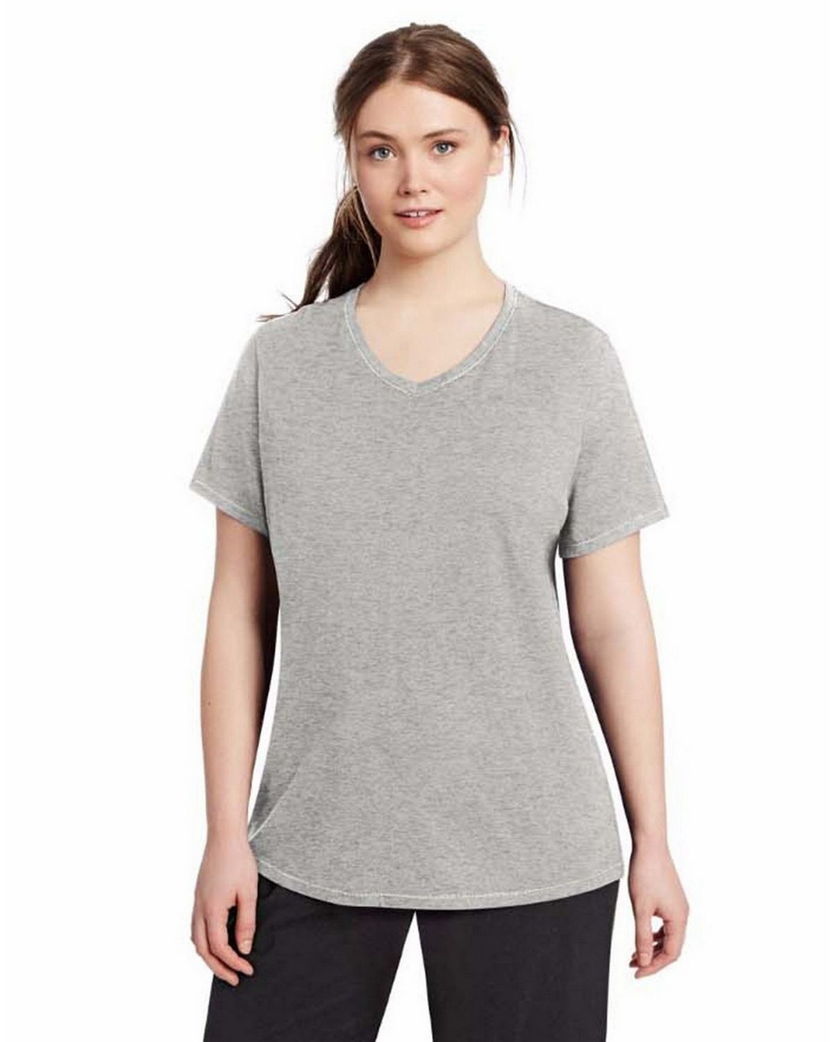 Champion QW1244 Womens Plus Jersey V-Neck - Oxford Grey - 1X QW1244
