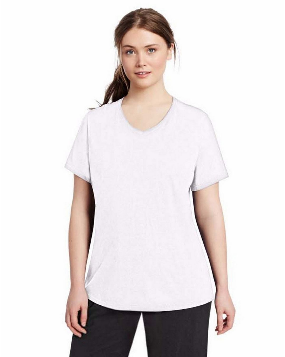 Champion QW1244 Womens Plus Jersey V-Neck - White - 2X QW1244