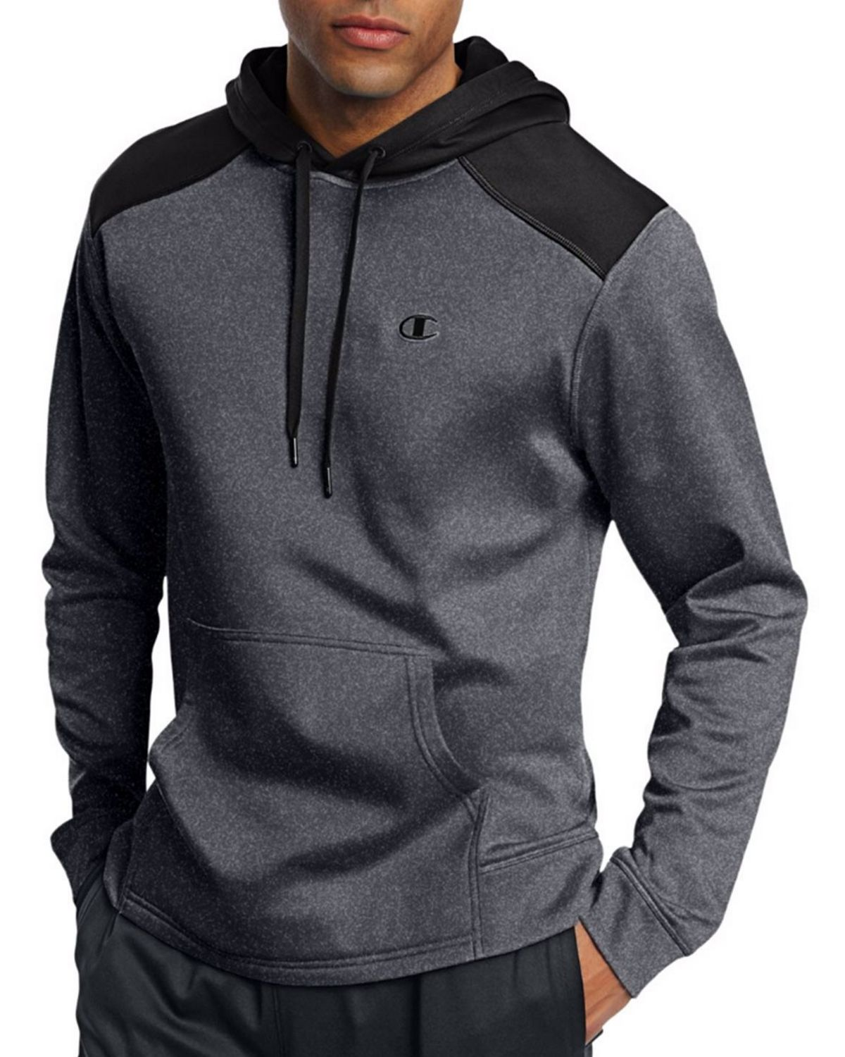 Champion S0875 Tech Fleece Pullover Hoodie - Granite Heather/Black - S S0875