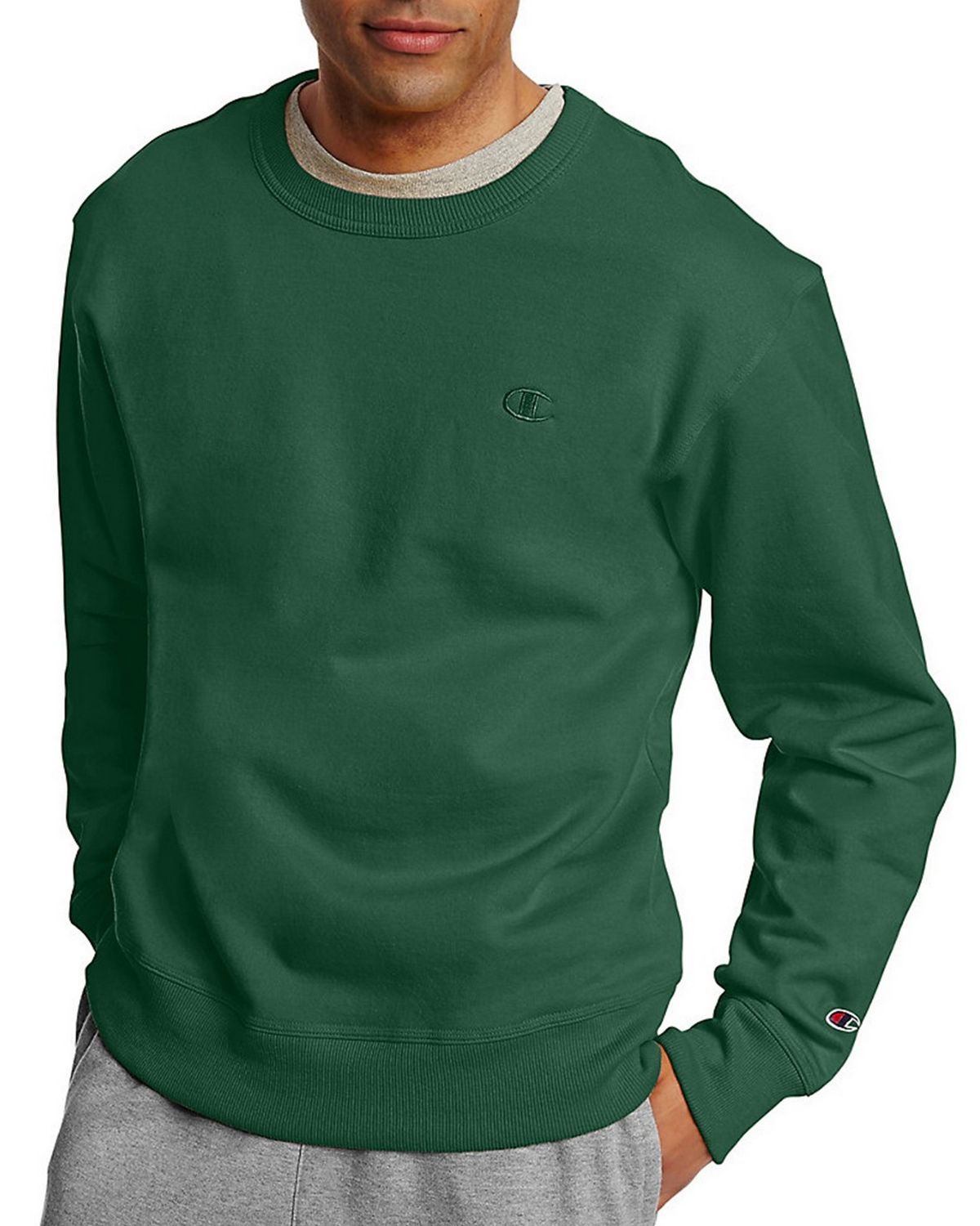 Champion S0888 Mens Fleece Pullover Crew - Dark Green - XL S0888