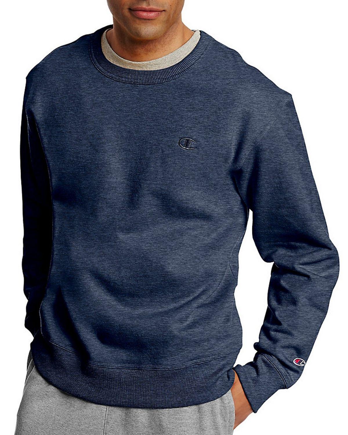 Champion S0888 Mens Fleece Pullover Crew - Granite Heather - S S0888