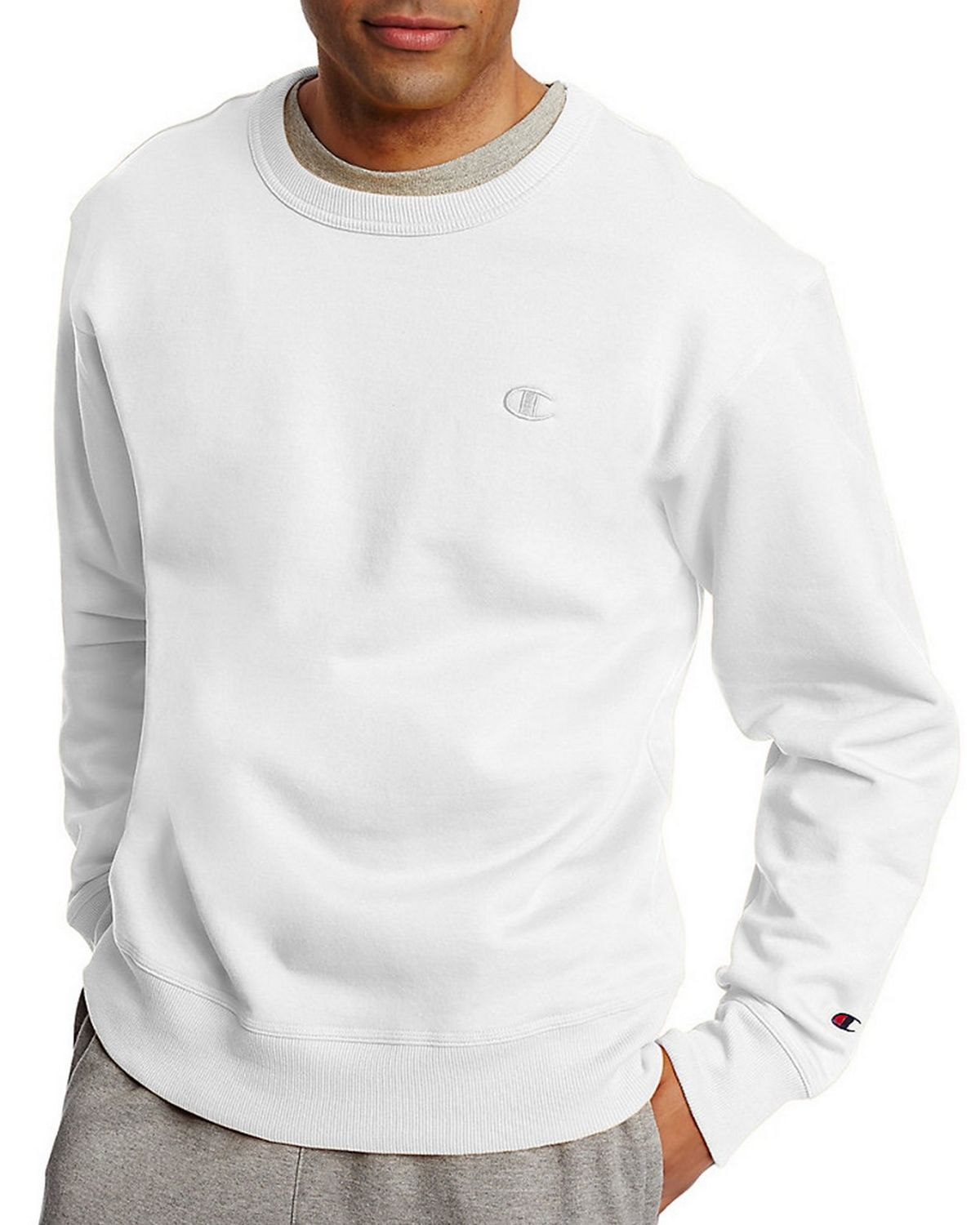 Champion Men's Powerblend Pullover Sweatshirt, Oxford Grey, Large S0888