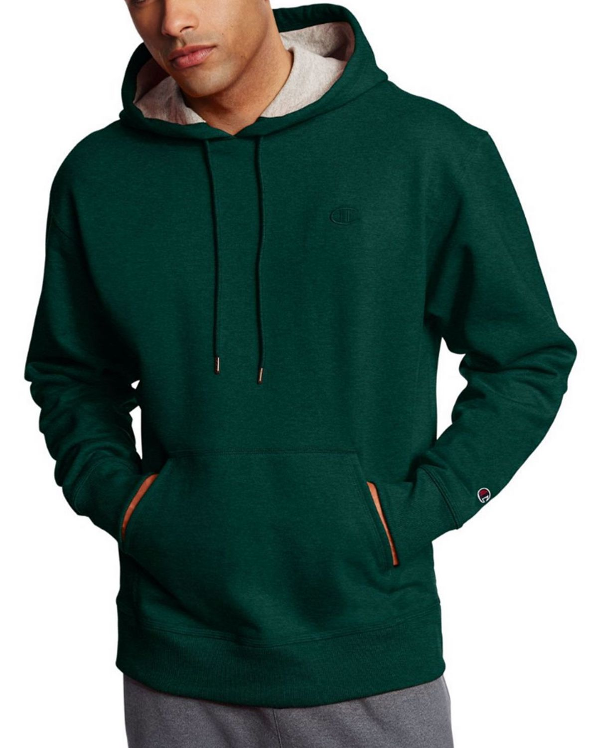 Champion S0889 Mens Fleece Pullover Hoodie - Granite Heather - L S0889