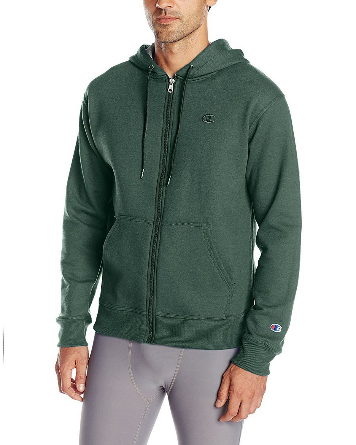 Champion S0891 Mens Fleece Full Zip Jacket - Dark Green - L S0891