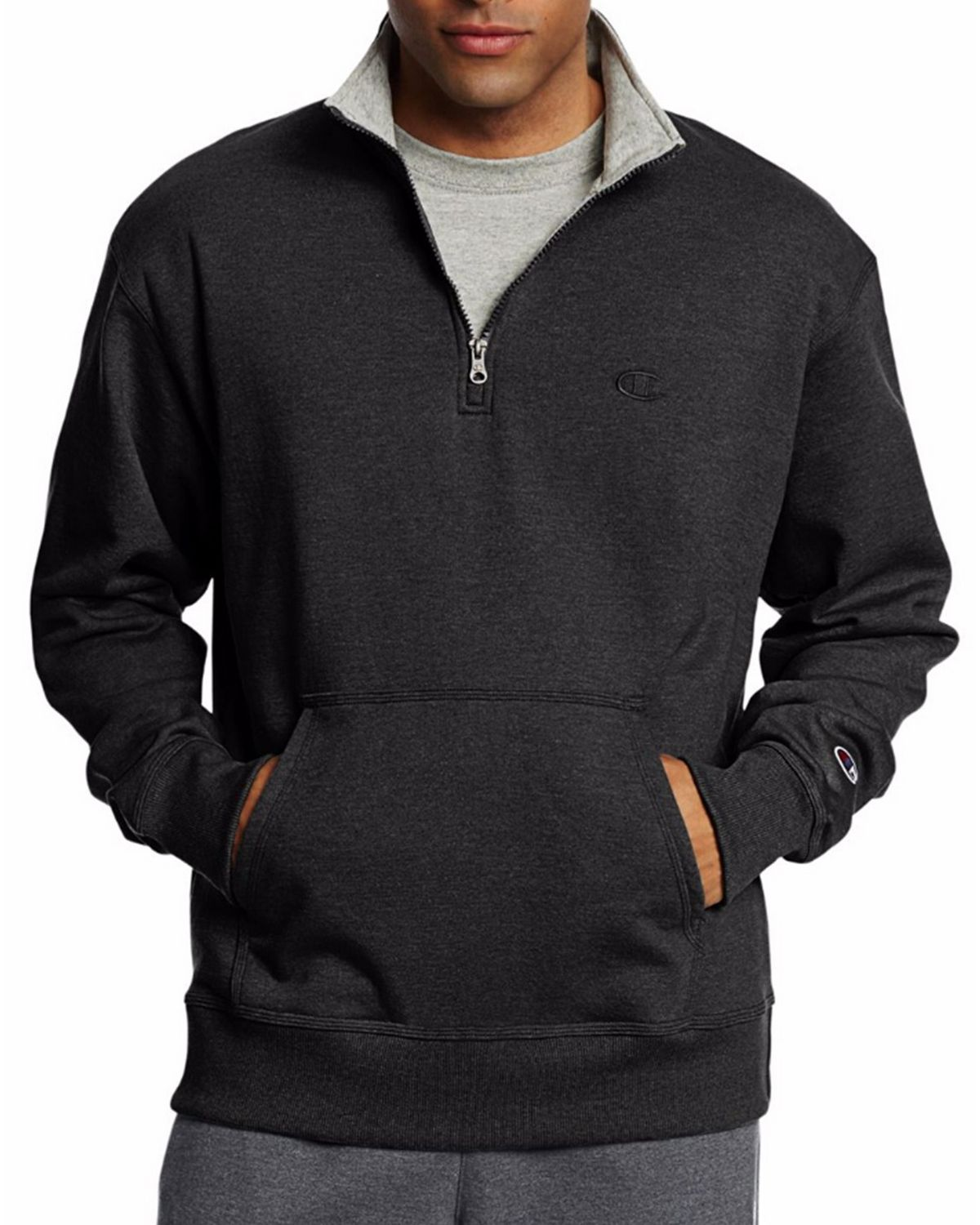 Champion S0896 Mens Fleece 1/4 Zip Pullover - Black - S S0896
