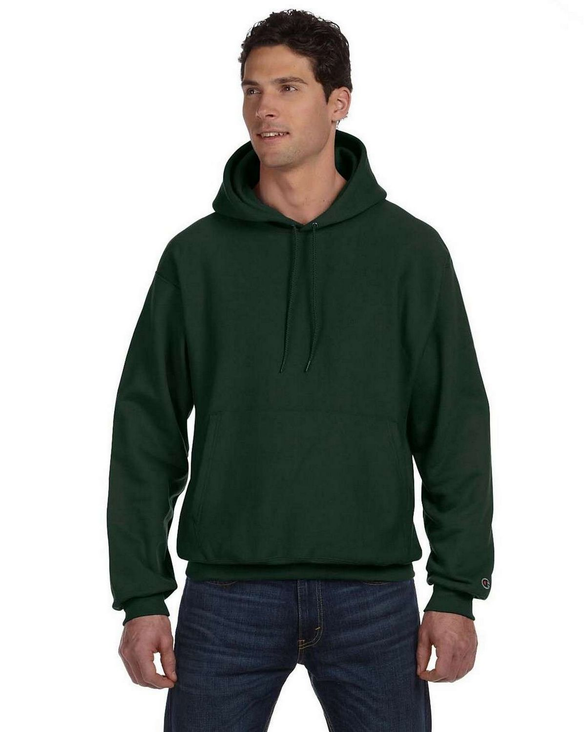Champion S1051 Reverse Weave Hood - Dark Green - S S1051