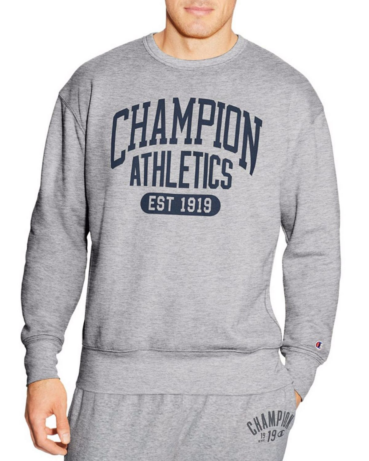 Champion S1230 Mens Crew Sweatshirt - Oxford Grey - S S1230