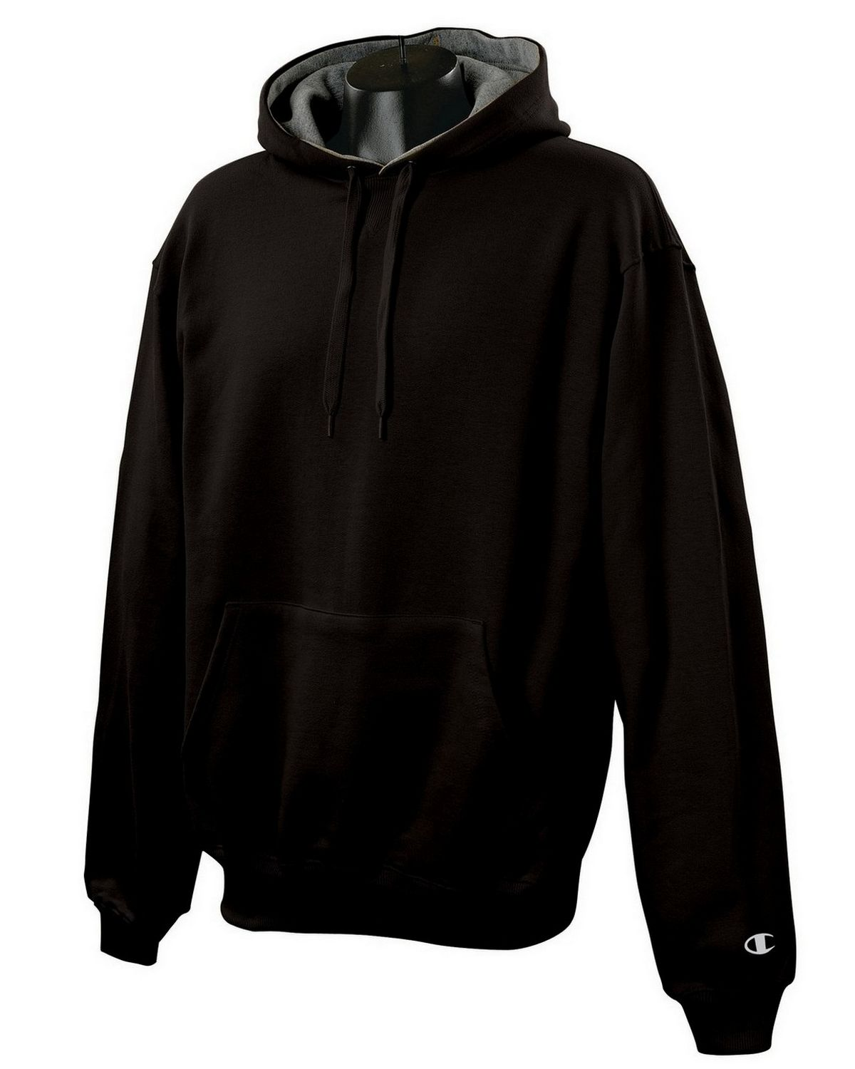 Champion S1781 Cotton Max Pullover Hood - Black/Granite Heather - XL S1781