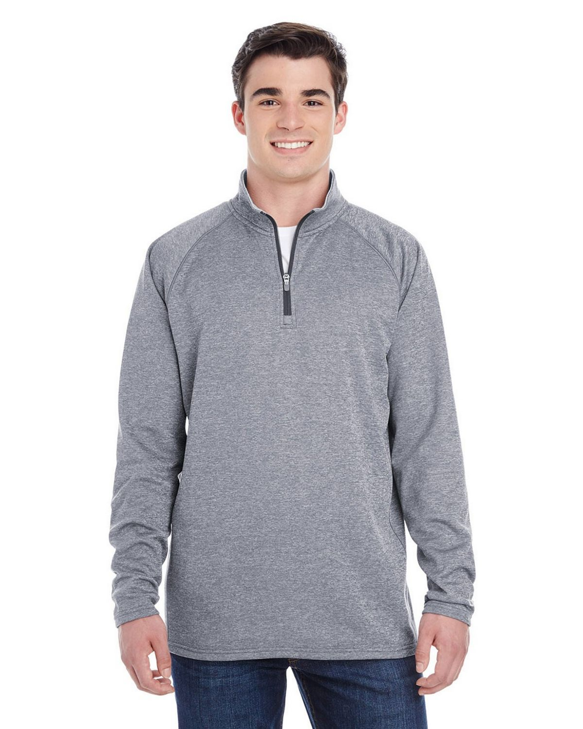 Champion S230 Performance Colorblock Quarter Zip Pullover - Slate Gray Heather - L S230