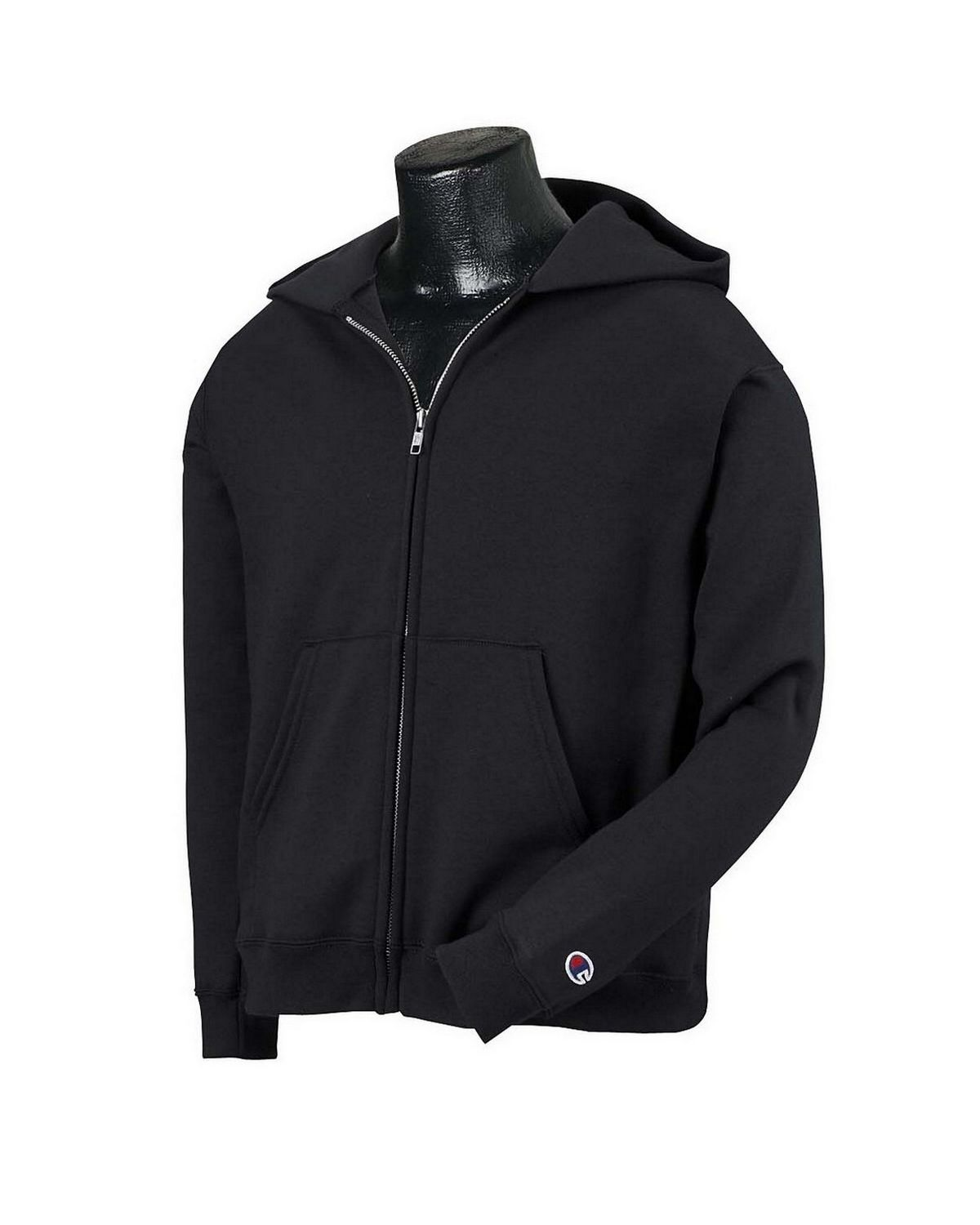 Champion S890 Youth EcoSmart Full Zip Hood - Black - L S890
