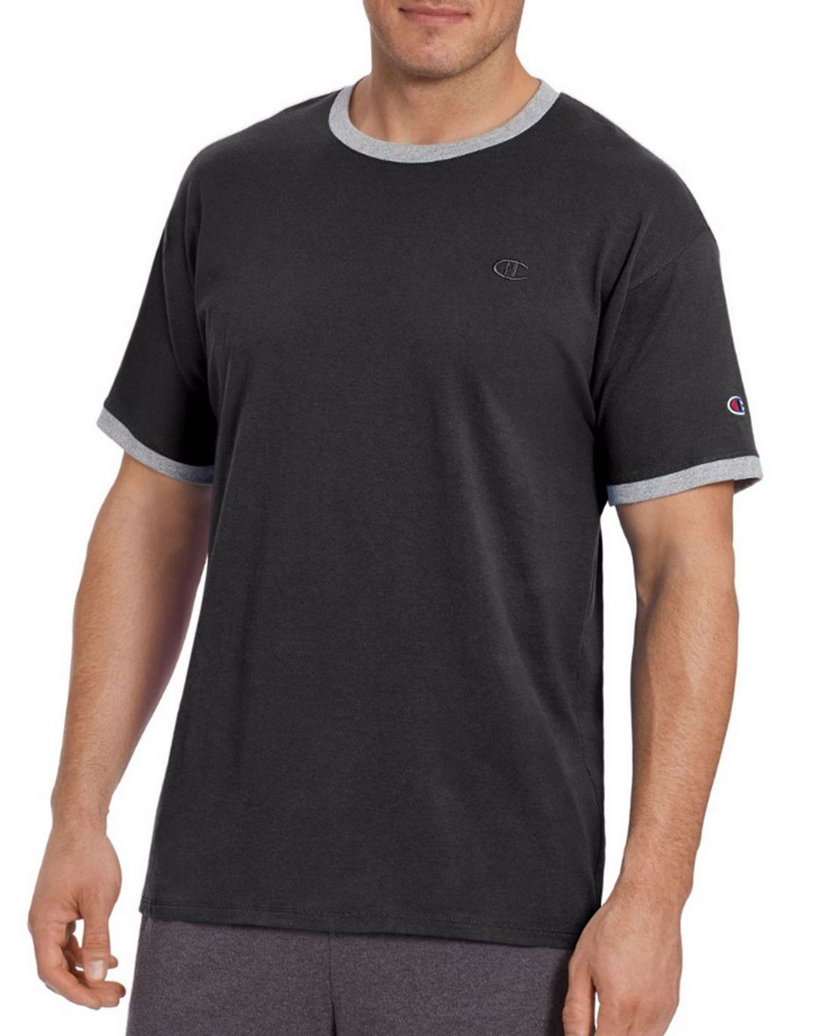 Champion T0220 Mens Ringer Tee - Scarlet/Oxford Gray Heather - M T0220