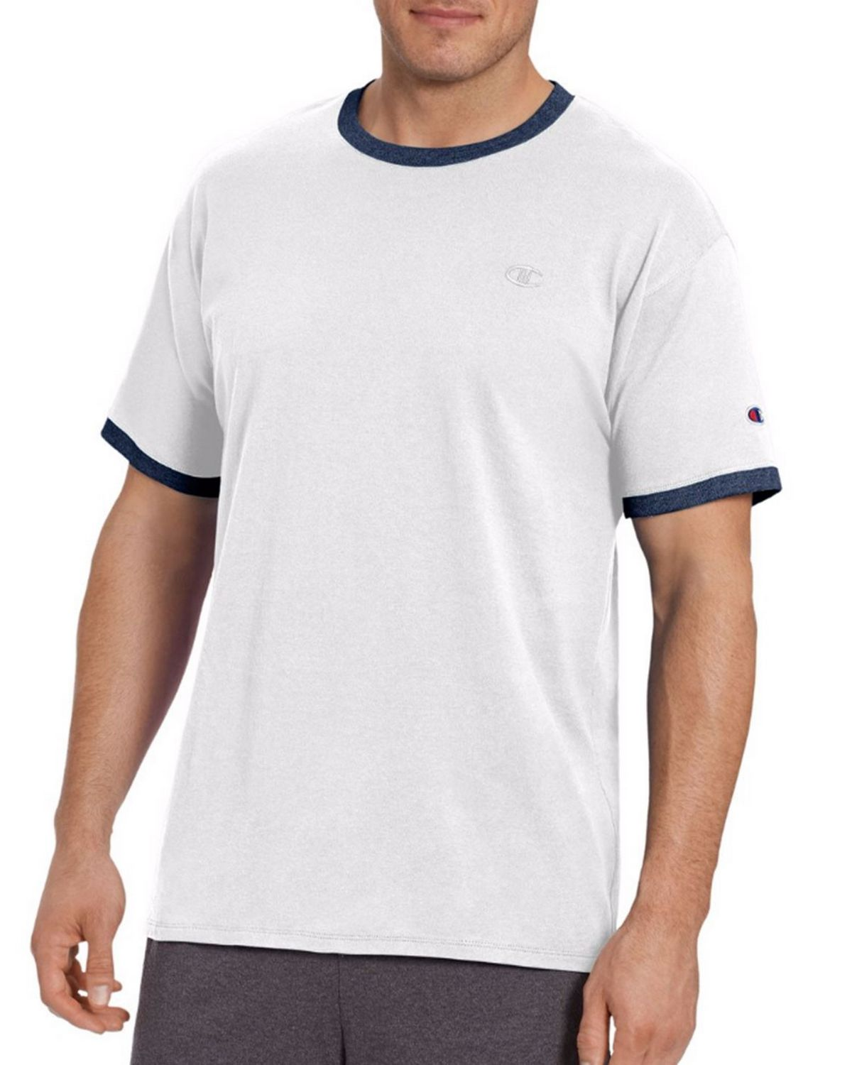 Champion T0220 Mens Ringer Tee - White/Navy - XL T0220