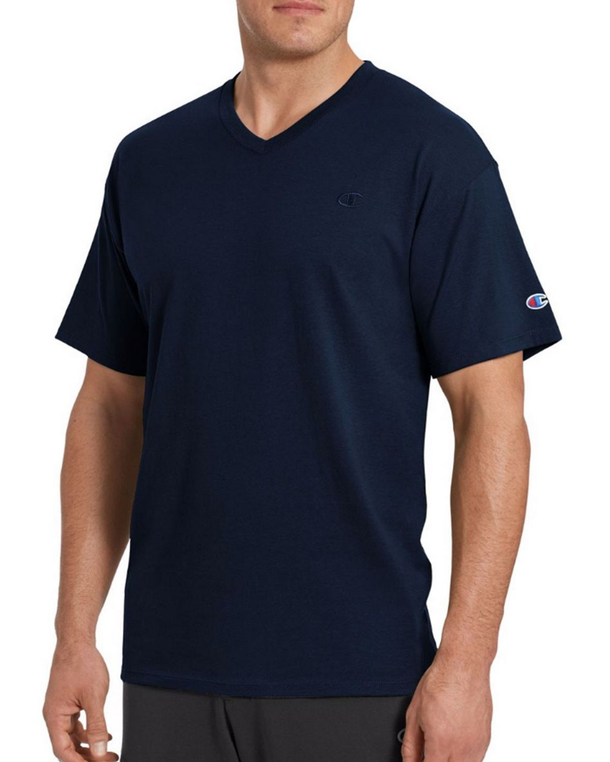 Champion T0221 Mens V-Neck Tee - Navy - XL T0221