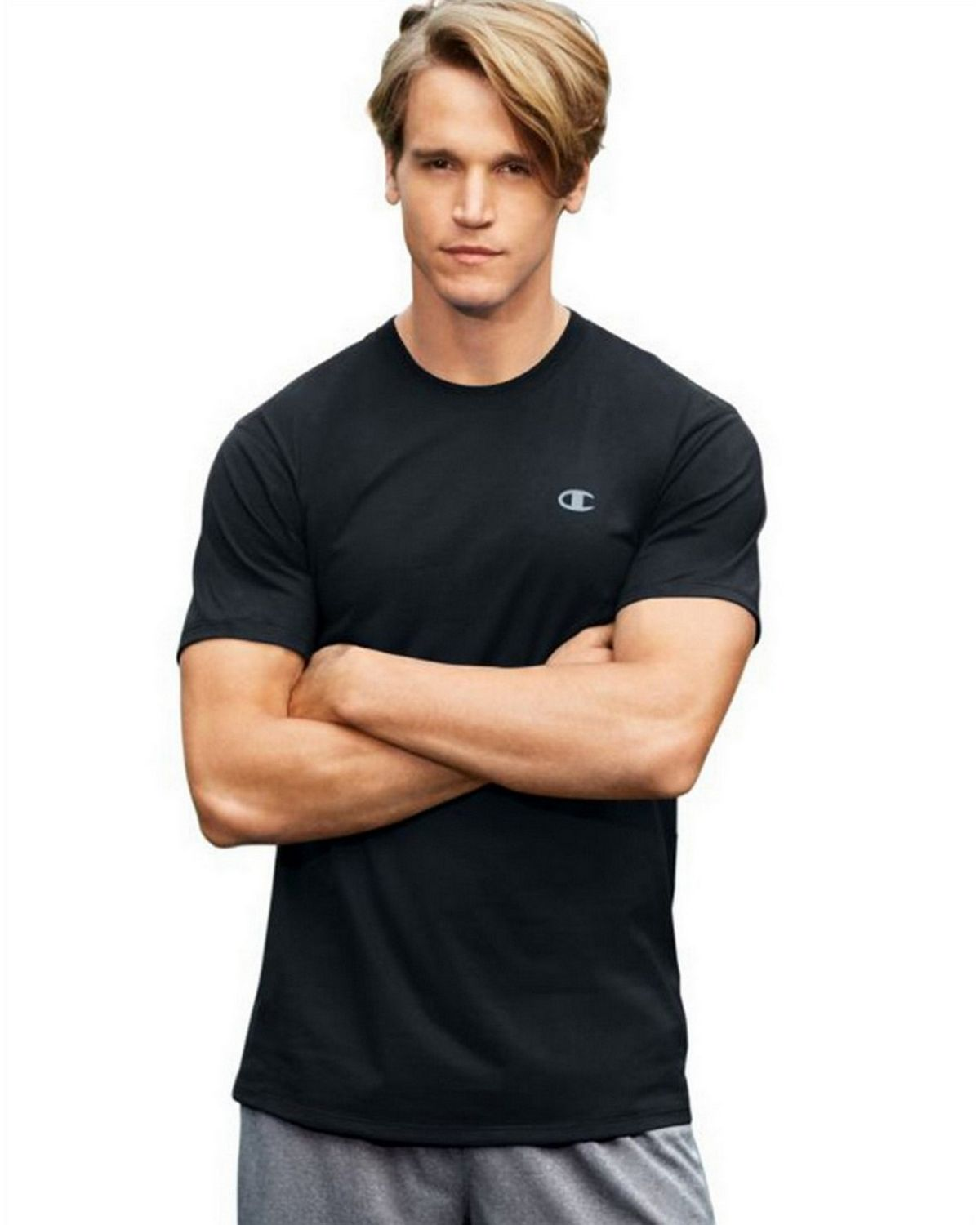 Champion T0351 Vapor Mens Cotton Tee - Black - XL T0351