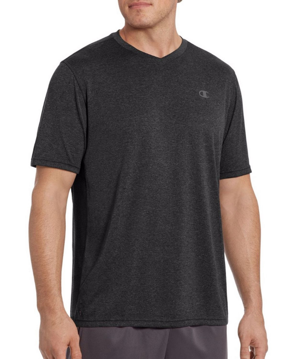 Champion T0770 Vapor Mens V-Neck Tee - Black Heather/Black - L T0770