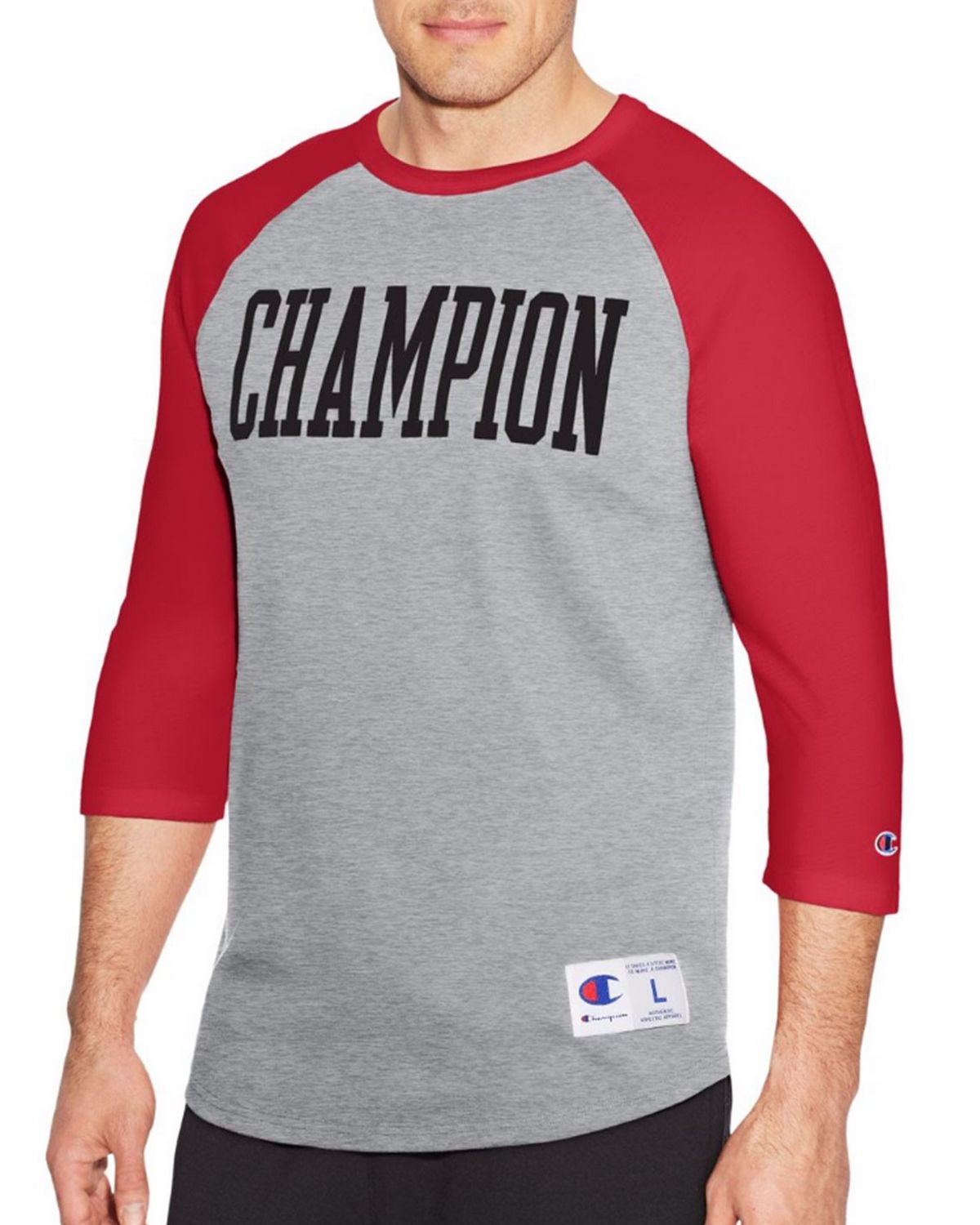 Champion T1234 Mens Slub Tee - Oxford Grey/Fire Roasted Red - XL T1234
