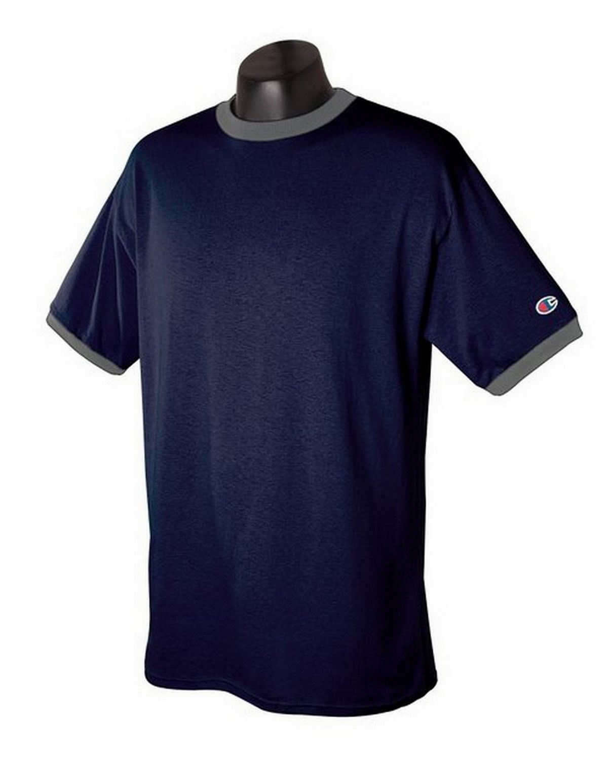 Champion T136 Ringer T-Shirt - Navy/Oxford Gray - XL T136