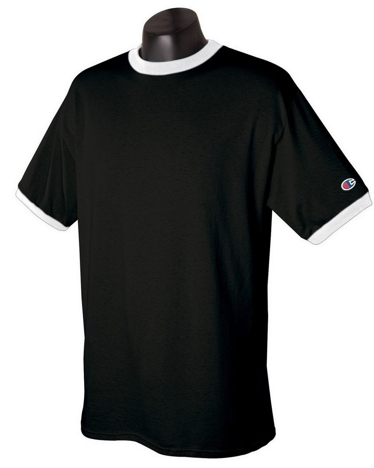Champion T1396 Cotton Ringer T Shirt - White/Navy - XL T1396