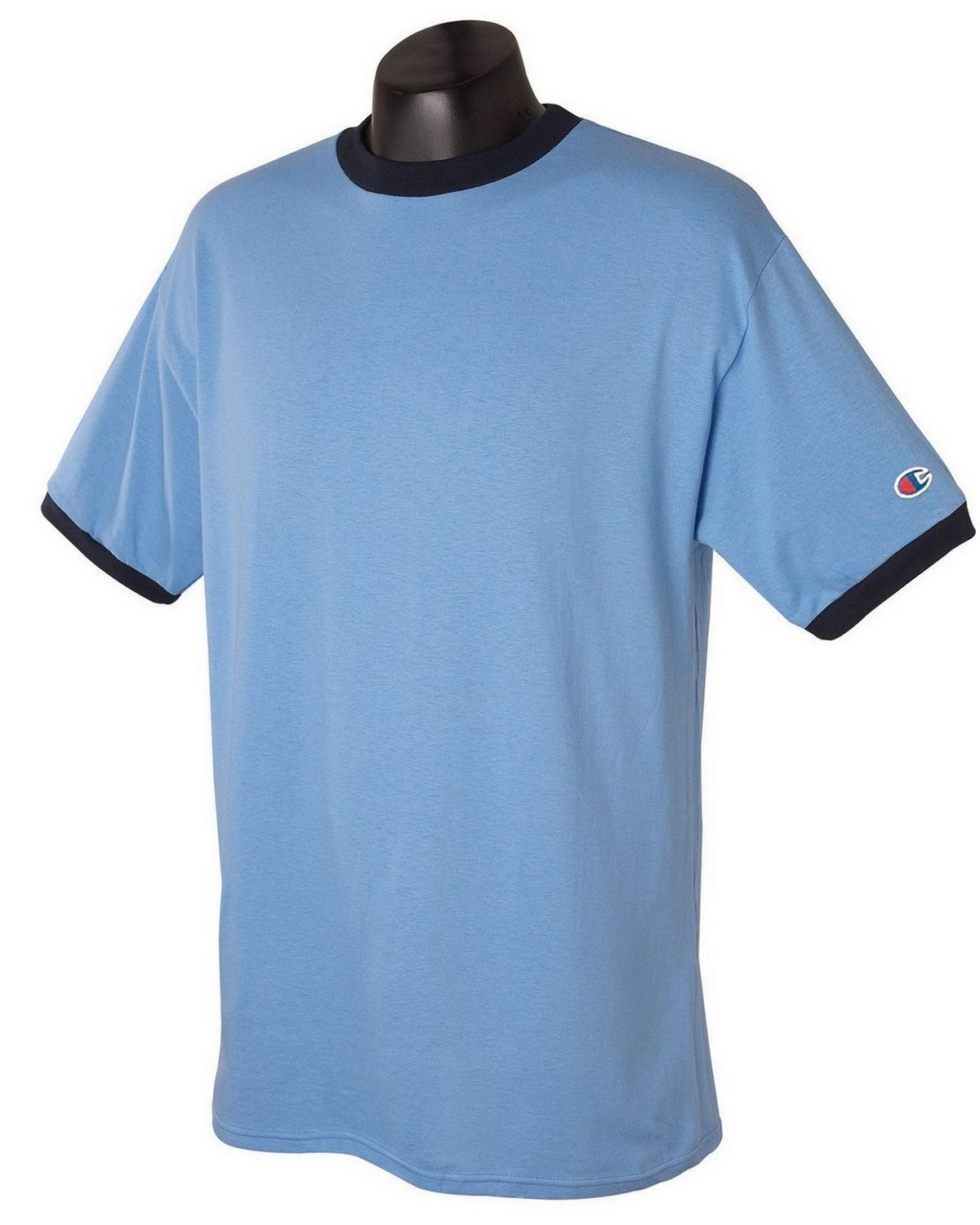 Champion T1396 Cotton Ringer T Shirt - White/Navy - L T1396