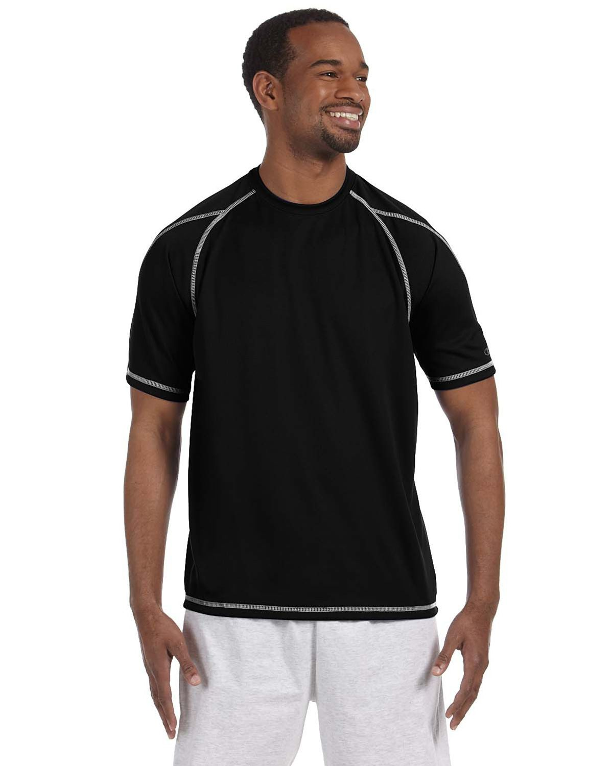 Champion T2057 Double Dry T Shirt - Black - XL T2057