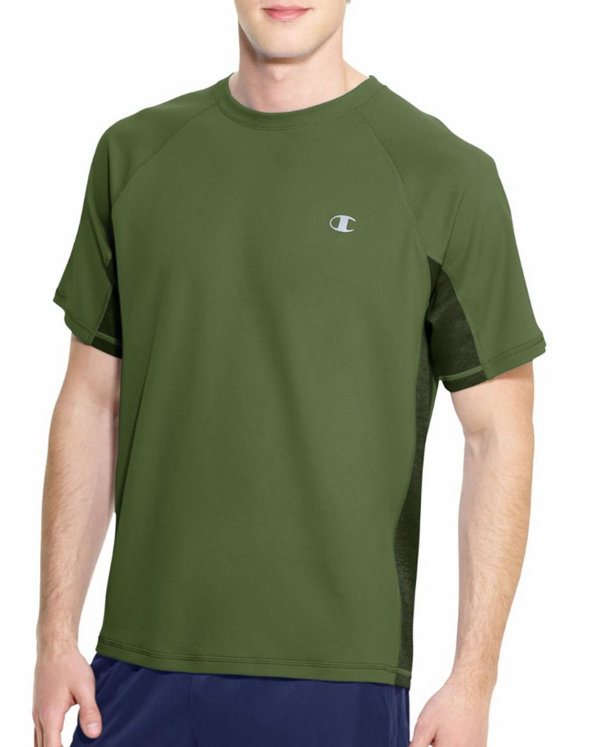 Champion T6608 Vapor PowerTrain Colorblock Tee - Service Green/Bottle Green - M T6608